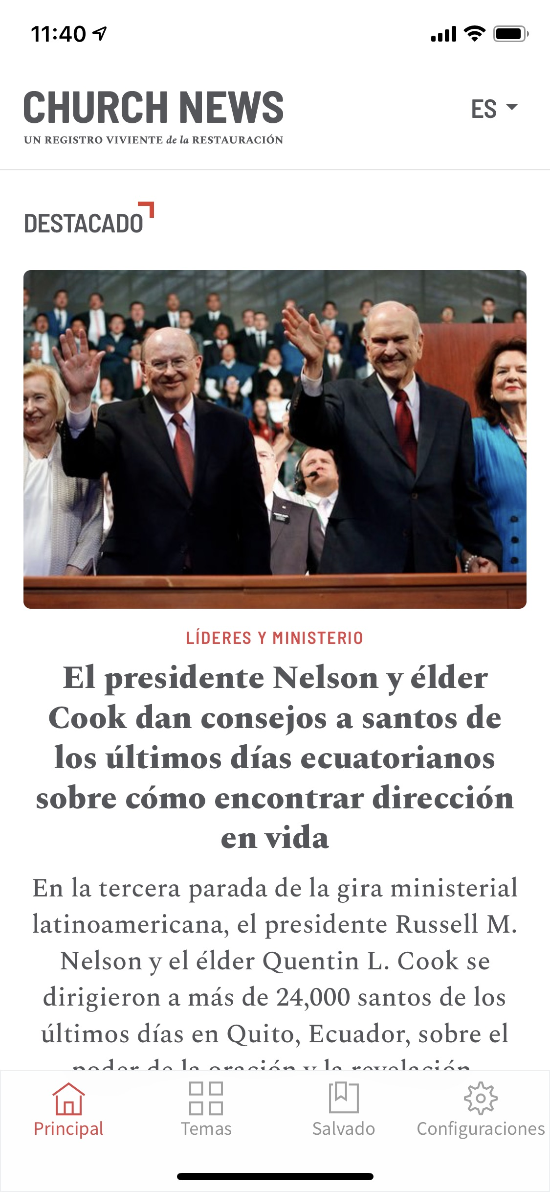 This is a screenshot of the Spanish version of the Church News app.