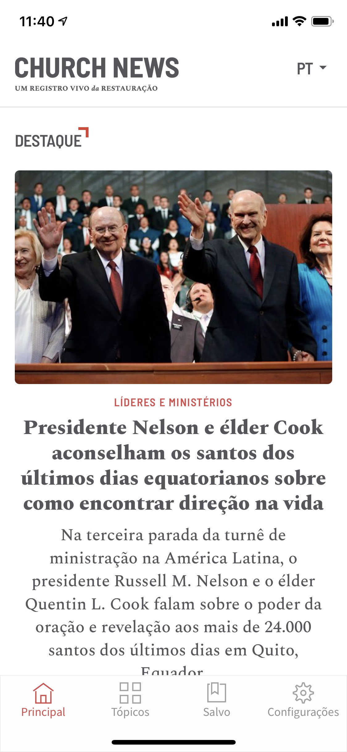 This is a screenshot of the Portuguese version of the Church News app.