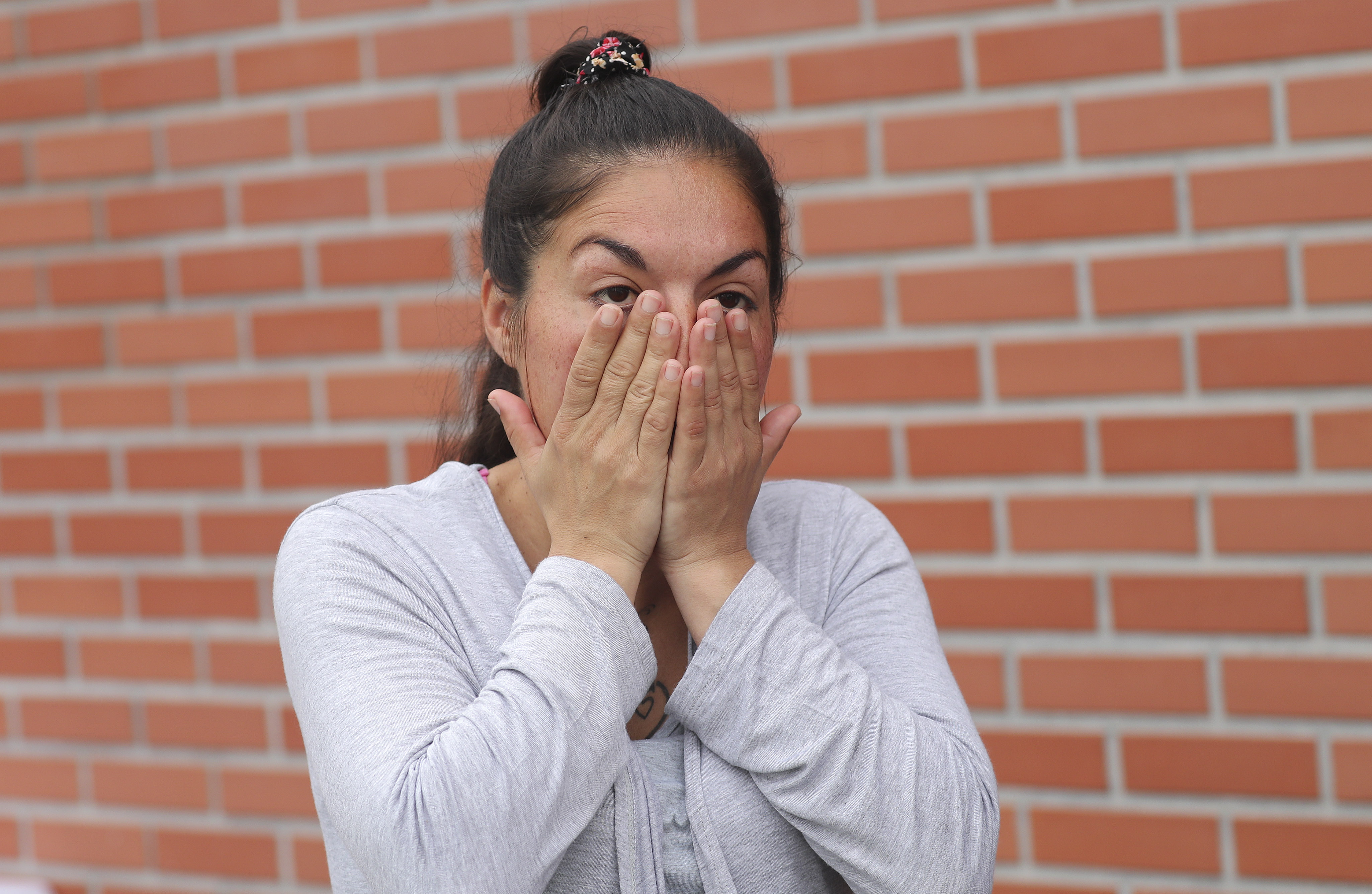 Paola Loza talks about her son receiving a wheelchair from Latter-day Saint Charities in Buenos Aires, Argentina, on Wednesday, Aug. 28, 2019.