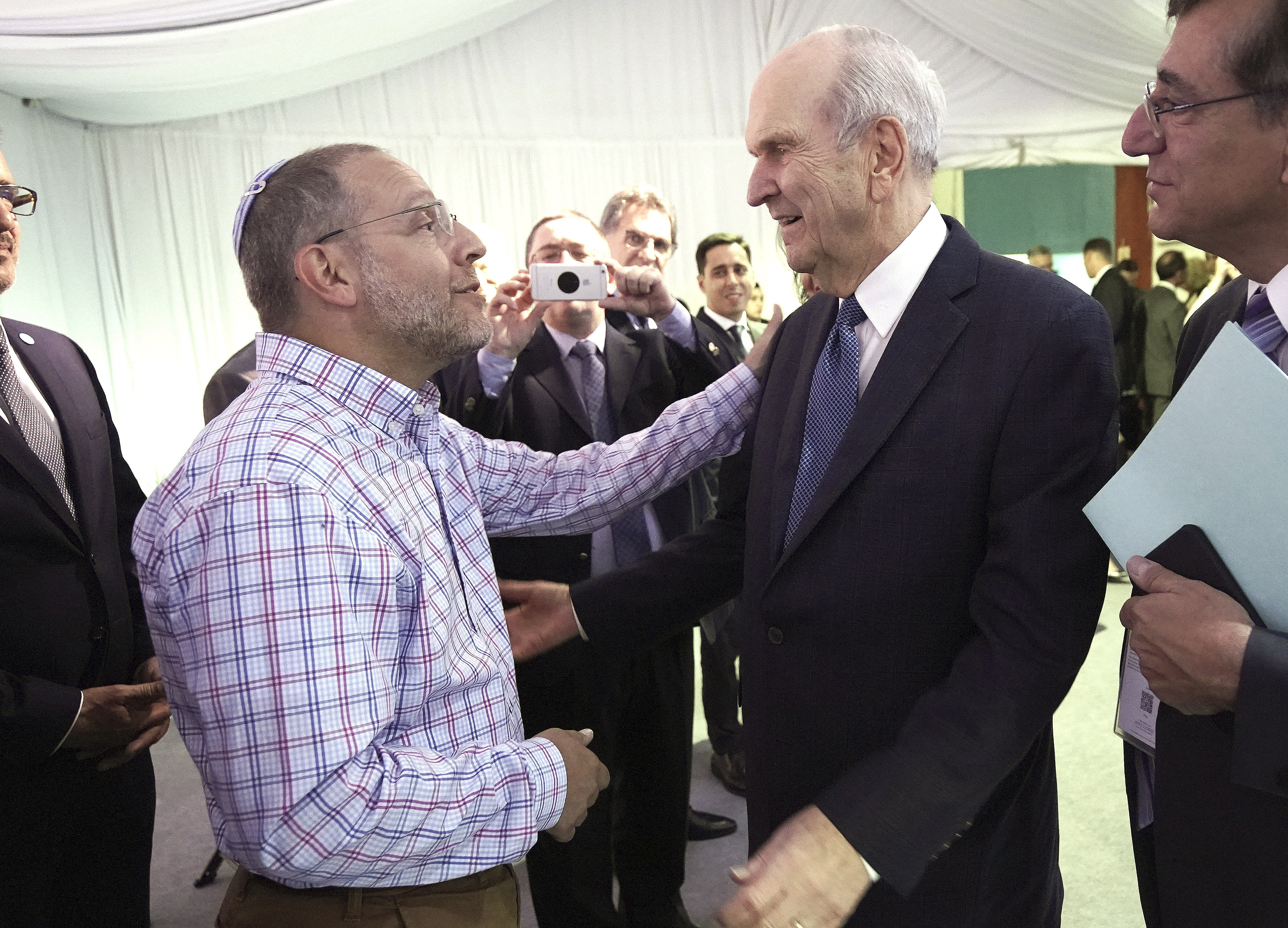 President Russell M. Nelson of The Church of Jesus Christ of Latter-day Saints talks with Rabbi Jacob Blumenthal prior to a devotional in Buenos Aires, Argentina, on Wednesday, Aug. 28, 2019.