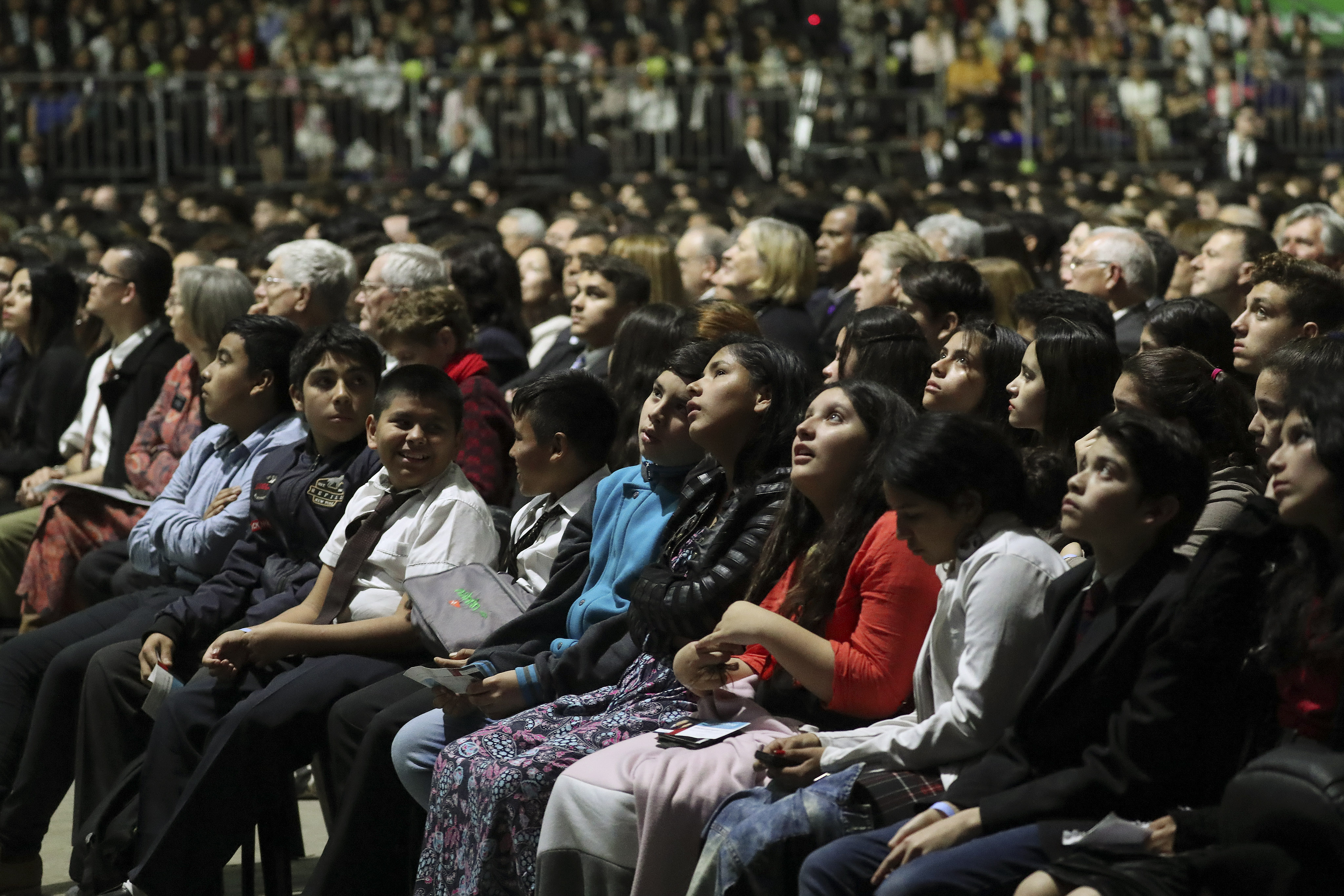 Attendees listen during a devotional in Buenos Aires, Argentina, on Wednesday, Aug. 28, 2019.