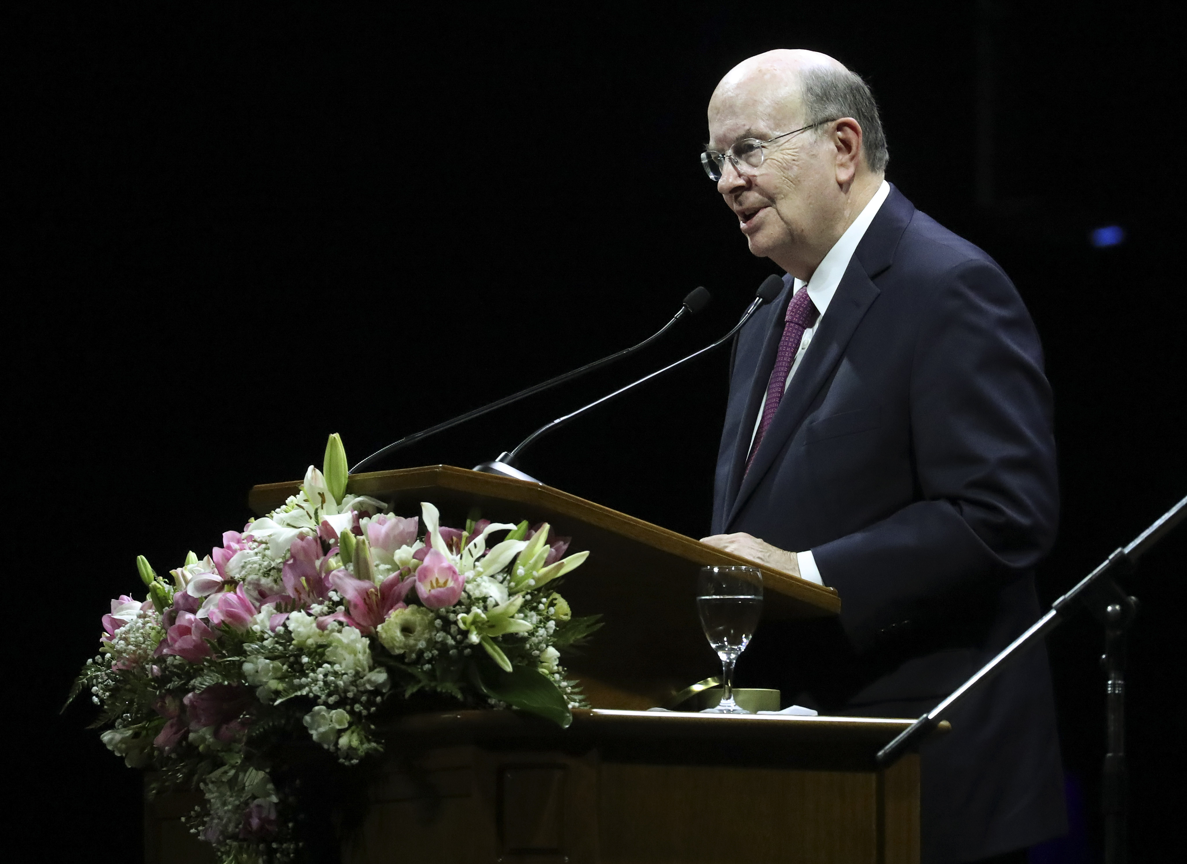 Elder Quentin L. Cook, Quorum of the Twelve Apostles of The Church of Jesus Christ of Latter-day Saints, speaks during a devotional in Buenos Aires, Argentina, on Wednesday, Aug. 28, 2019.