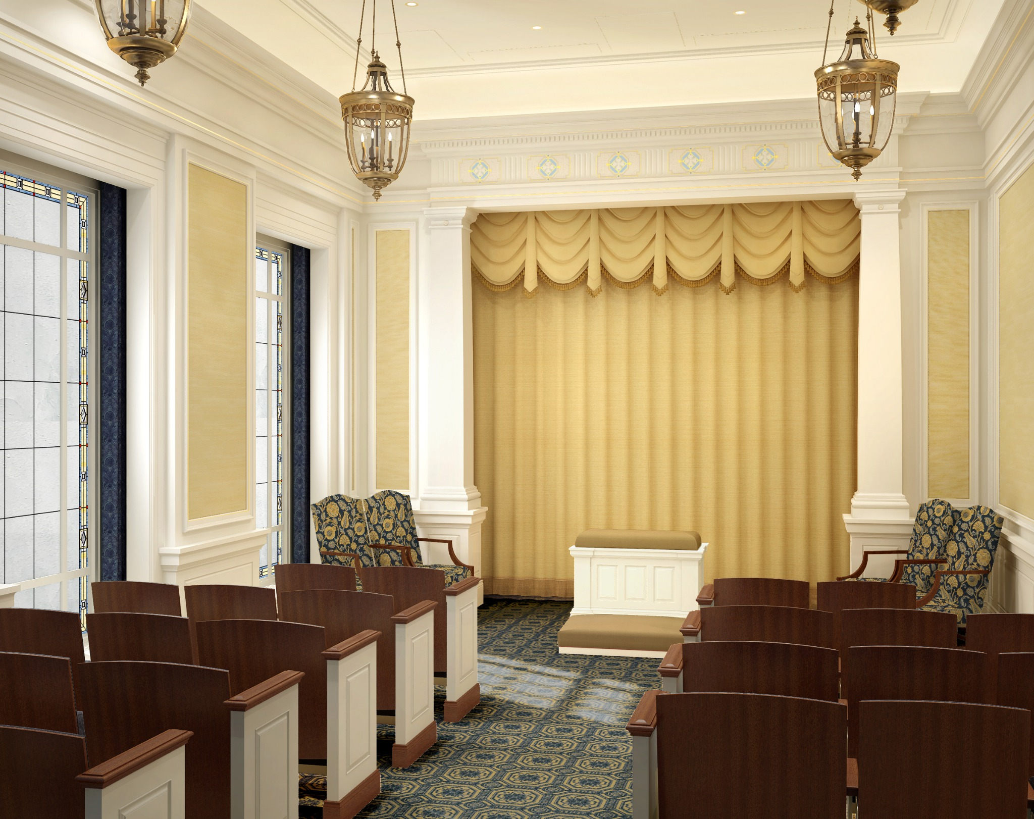 Rendering of an instruction room in the Richmond Virginia Temple