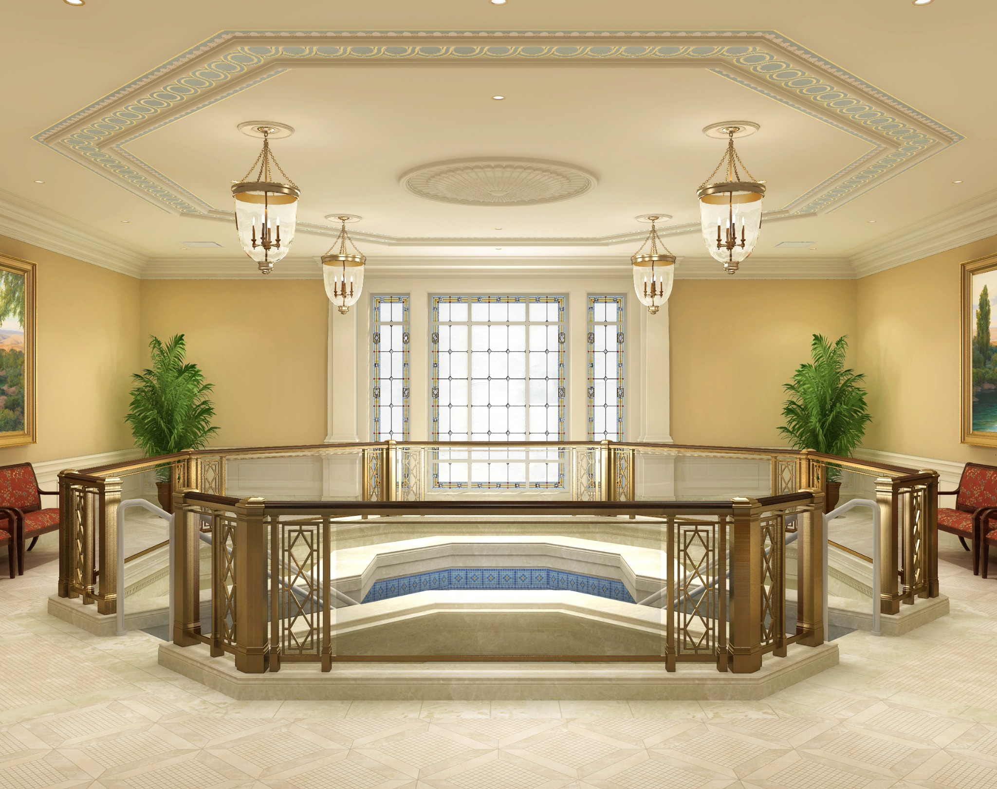 Rendering of the baptistry in the Richmond Virginia Temple