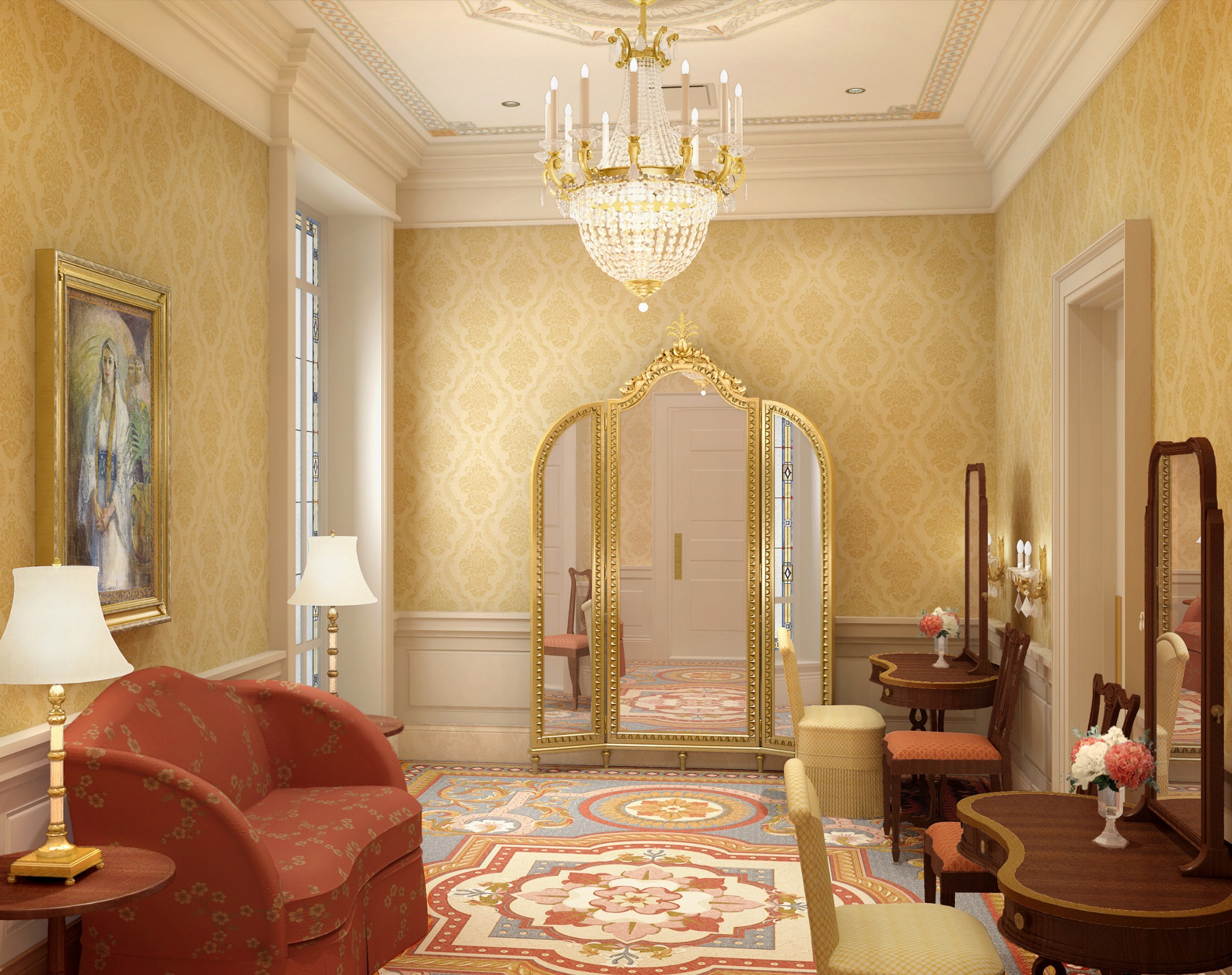 Rendering of the bride's room in the Richmond Virginia Temple