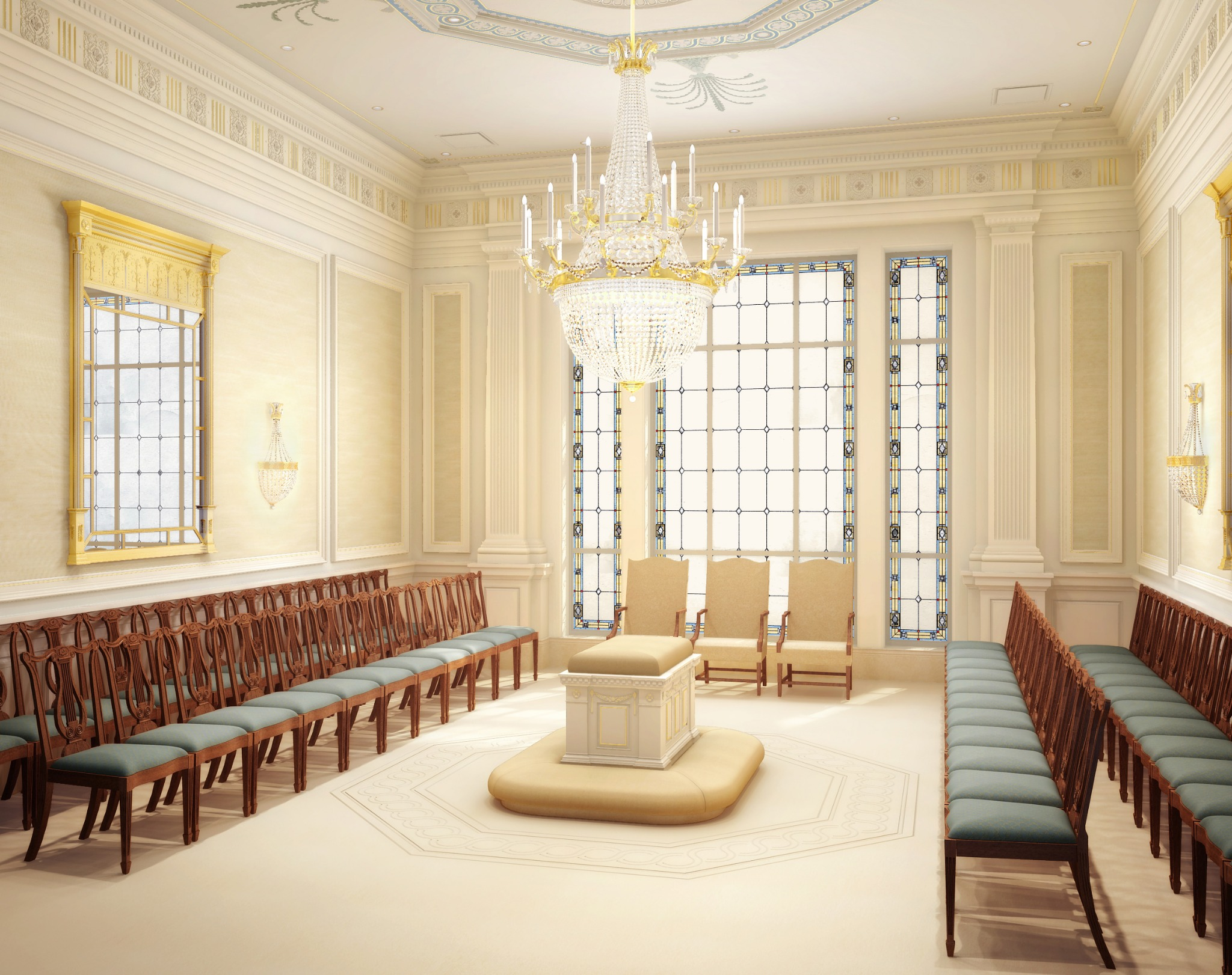 Rendering of a sealing room in the Richmond Virginia Temple