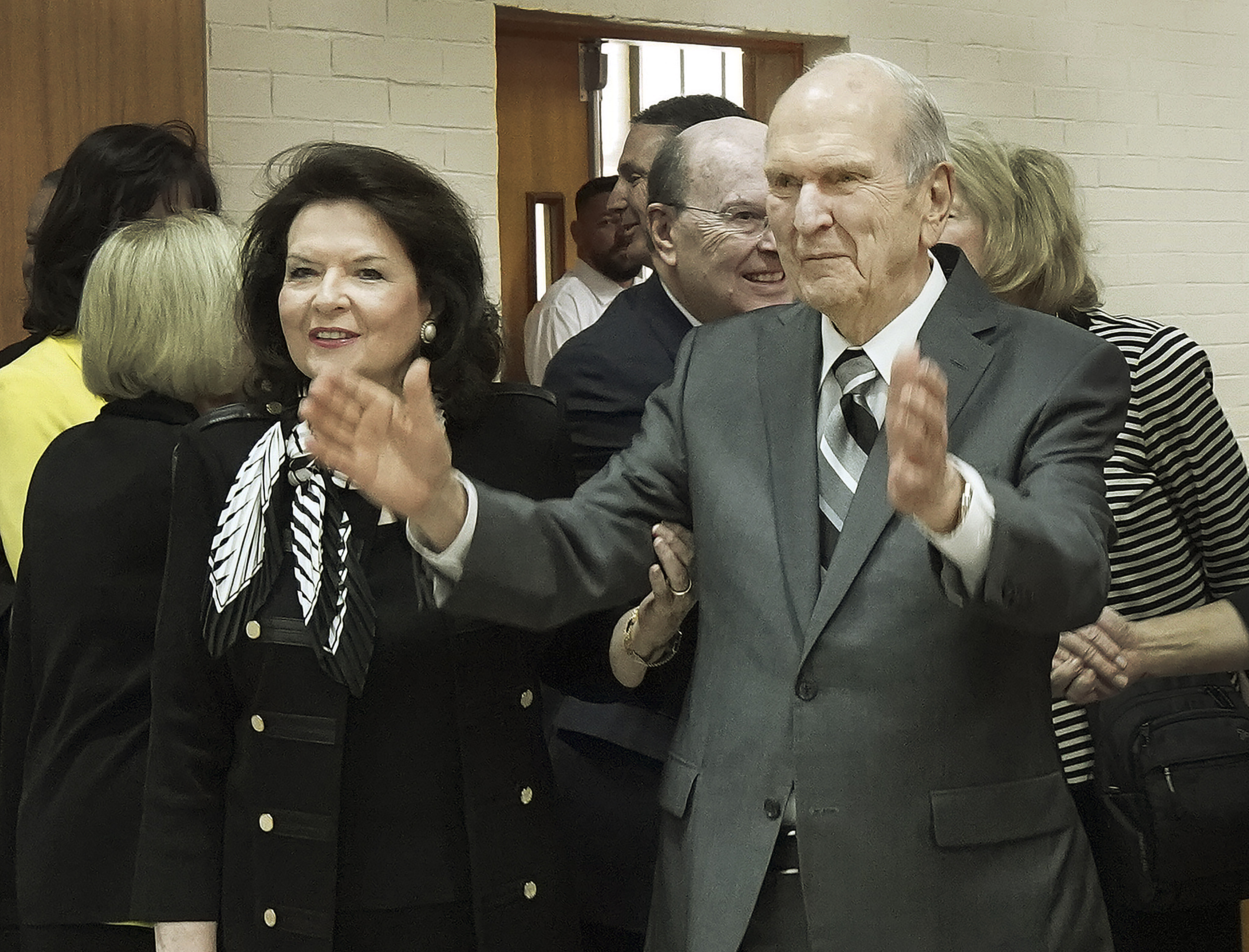 President Russell M. Nelson of The Church of Jesus Christ of Latter-day Saints and his wife, Sister Wendy Nelson, react to missionaries before a Brazil Brasilia Mission meeting in Brasilia, Brazil, on Friday, Aug. 30, 2019.