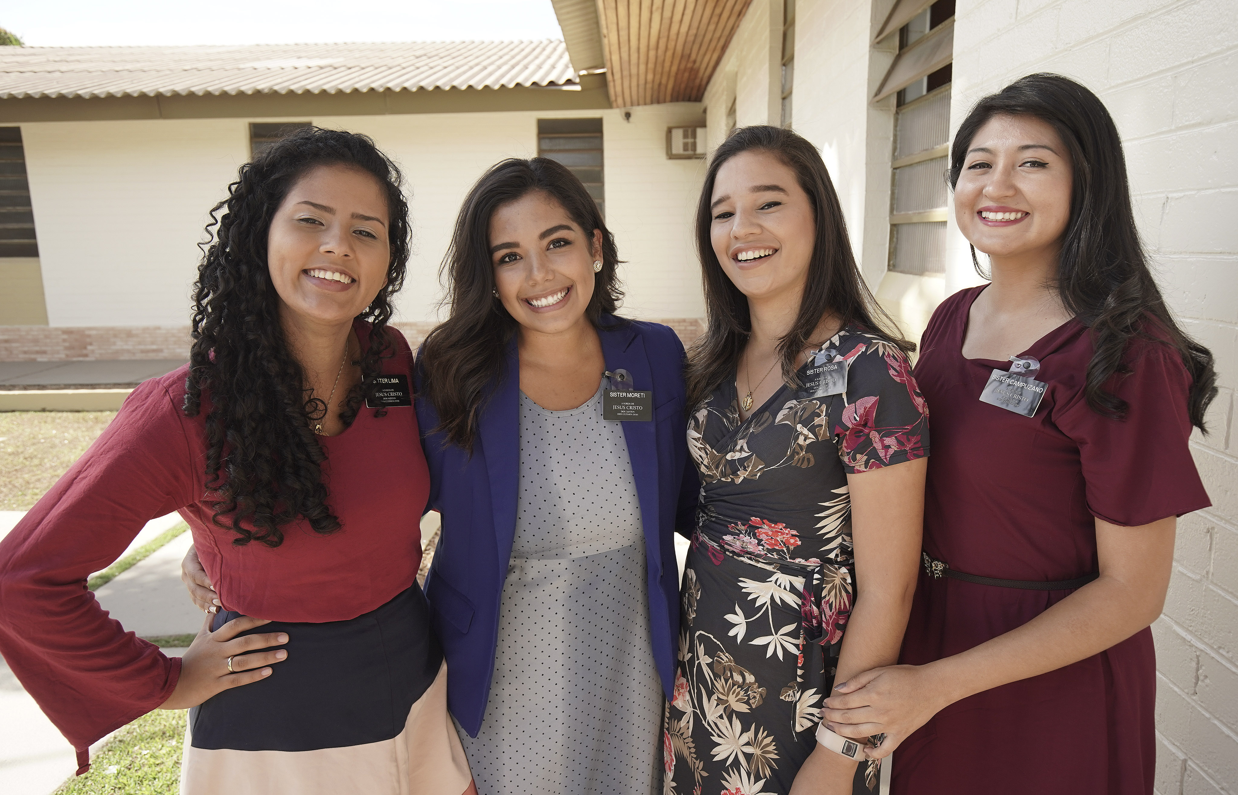 Sisters Gabriela Lima, Isabella Moreti, Marina Rosa and Melissa Campuzano gather before a meeting with President Russell M. Nelson of The Church of Jesus Christ of Latter-day Saints in Brasilia, Brazil, on Friday, Aug. 30, 2019.
