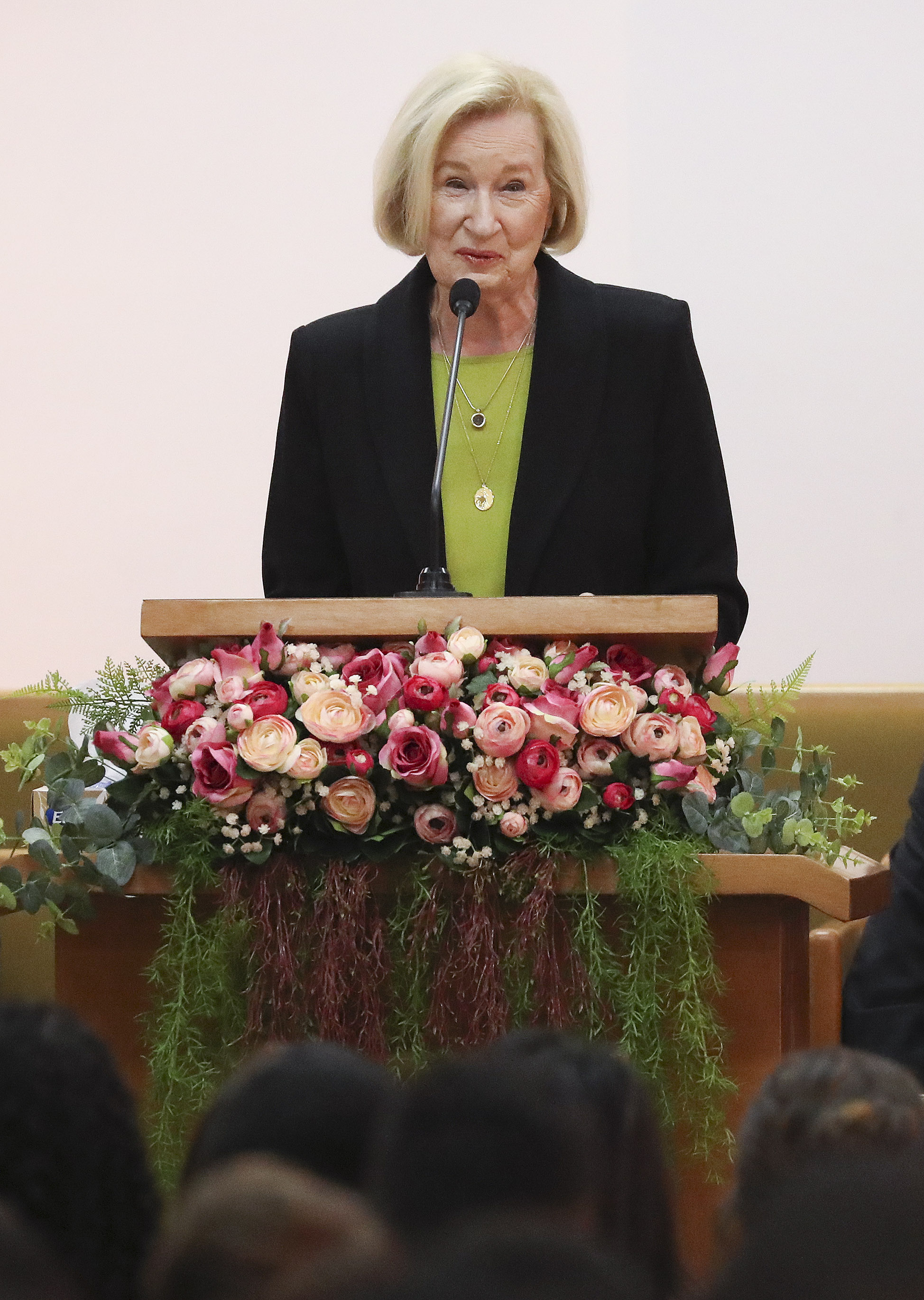 Sister Mary Cook speaks during a Brazil Brasilia Mission meeting in Brasilia, Brazil, on Friday, Aug. 30, 2019.