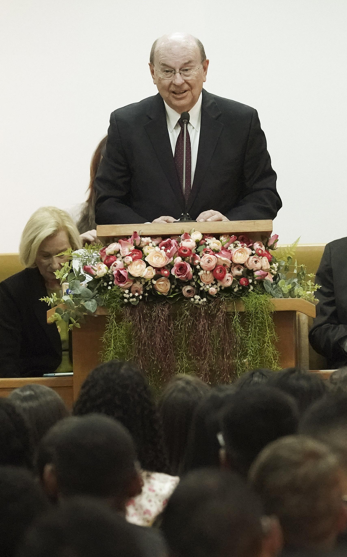 Elder Quentin L. Cook, Quorum of the Twelve Apostles of The Church of Jesus Christ of Latter-day Saints, speaks during a Brazil Brasilia Mission meeting in Brasilia, Brazil, on Friday, Aug. 30, 2019.
