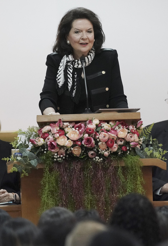 Sister Wendy Nelson speaks during a Brazil Brasilia Mission meeting in Brasilia, Brazil, on Friday, Aug. 30, 2019.