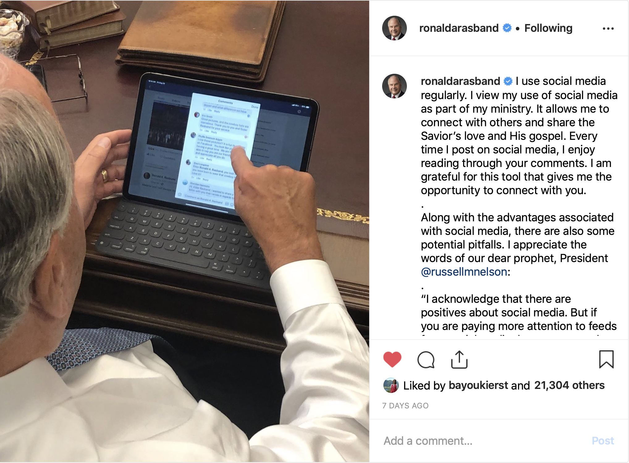 Elder Rasband shares how he uses social media as part of his ministry in an Instagram post.