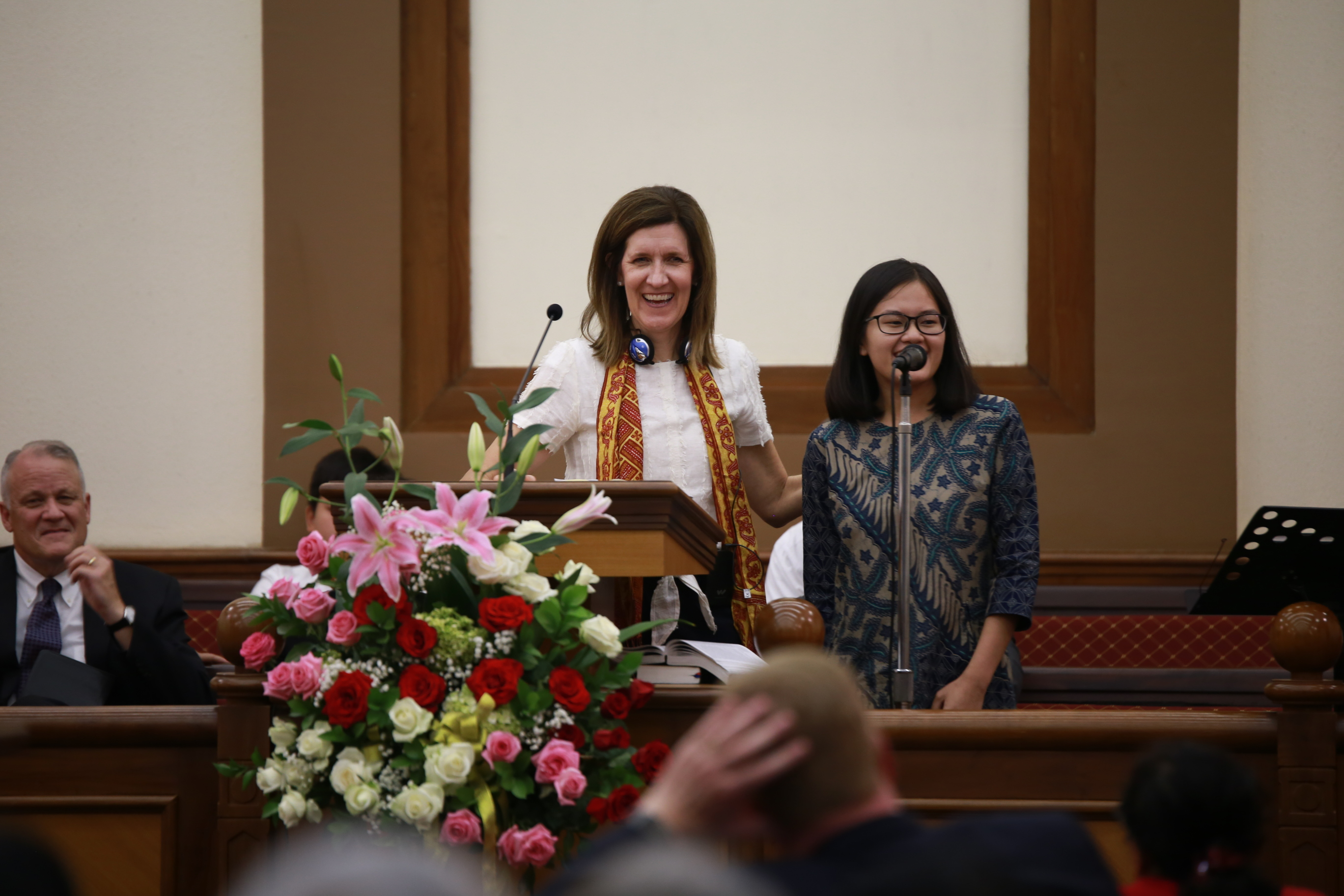 Sister Michelle D. Craig, first counselor in the Young Women general presidency, speaks at a devotional in Jakarta, Indonesia, during a visit to the Asia Area of the Church from Aug. 17 to 24, 2019.