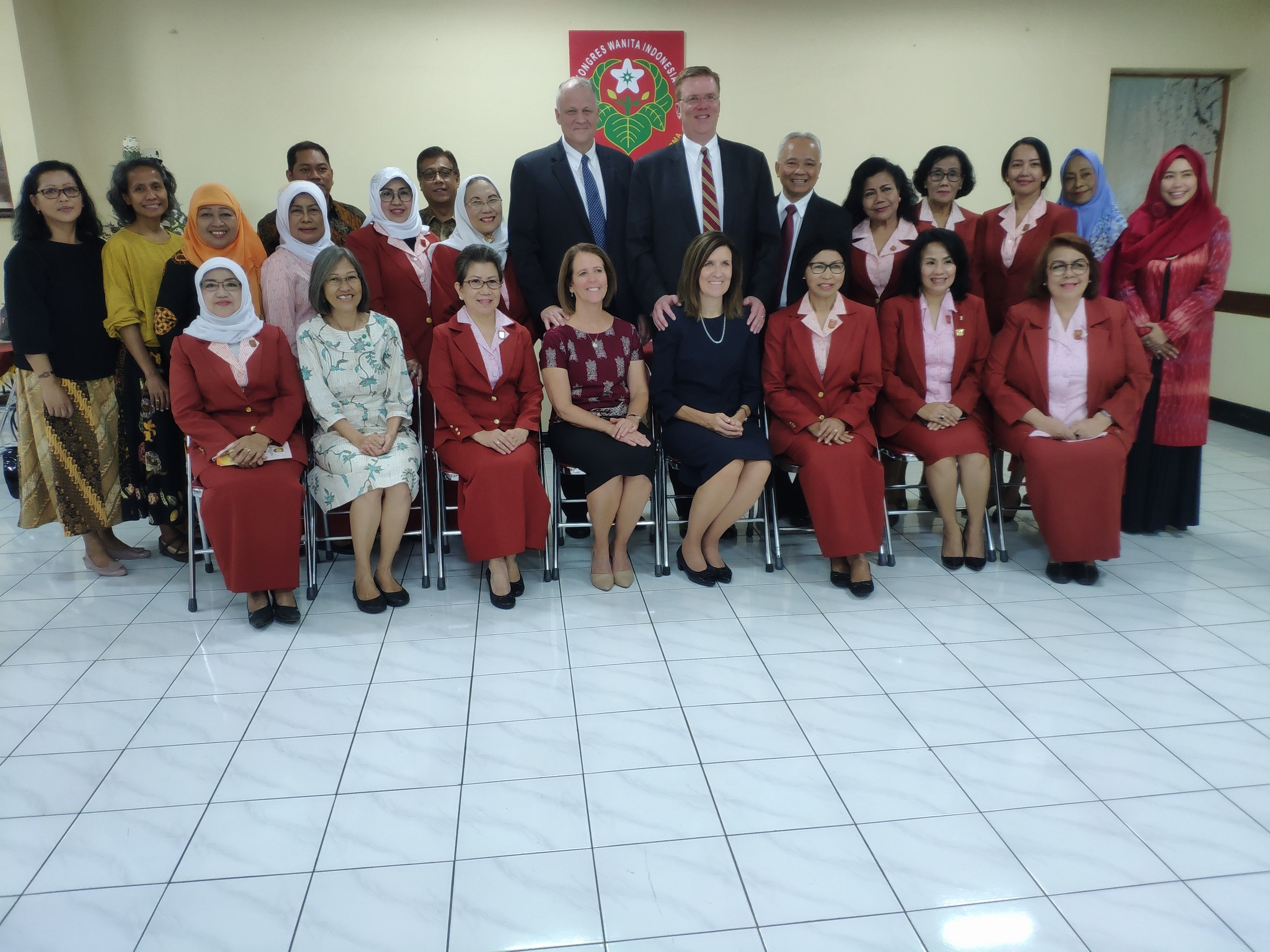 Sister Michelle D. Craig, first counselor in the Young Women general presidency, takes a photo with members of the Indonesia Women's Congress during a visit to the Asia Area of the Church from Aug. 17 to 24, 2019.