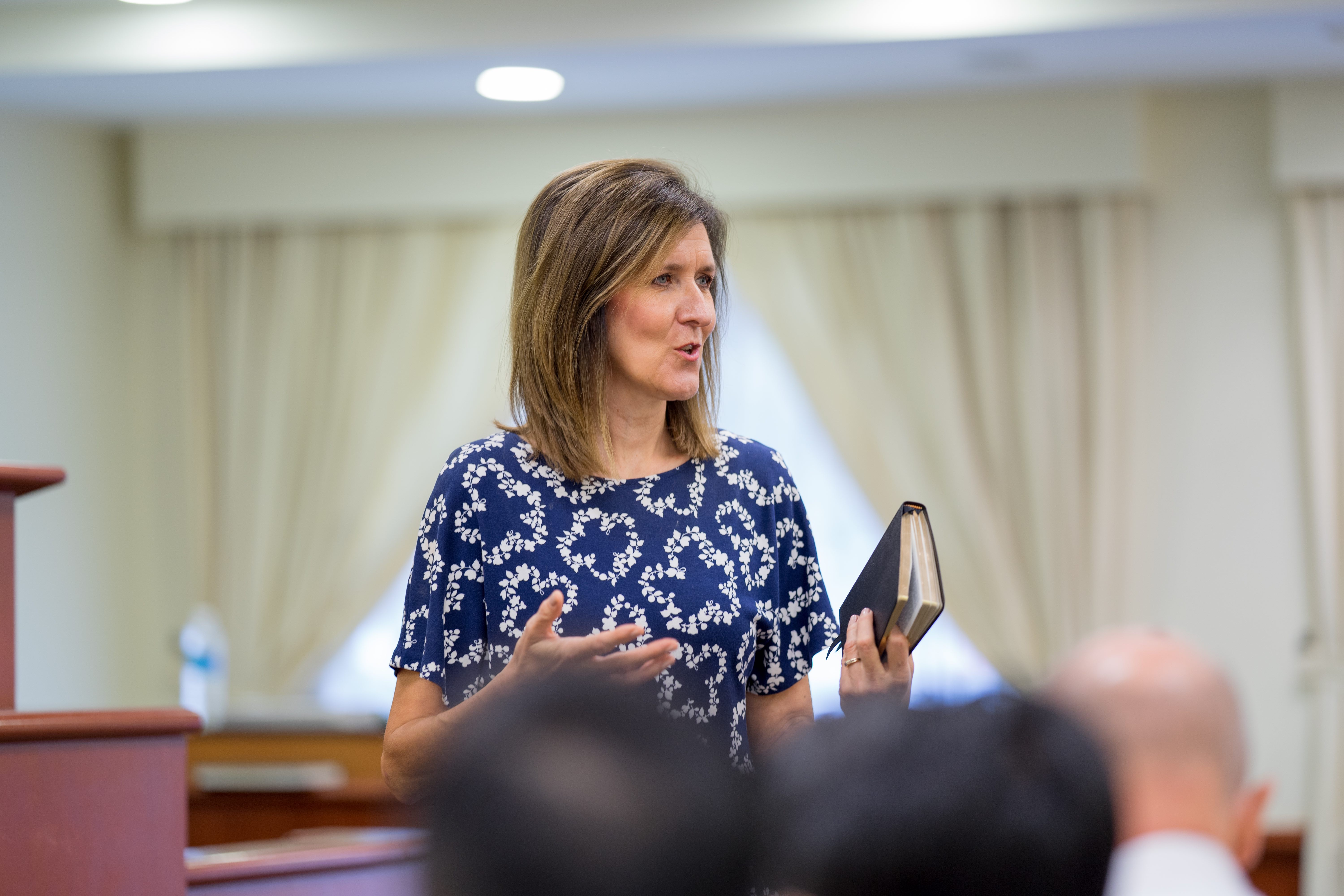 Sister Michelle D. Craig, first counselor in the Young Women general presidency, speaks during a leadership training meeting with members of the Church in Kuala Lumpur, Malaysia, during a visit to the Asia Area of the Church from Aug. 17 to 24, 2019.