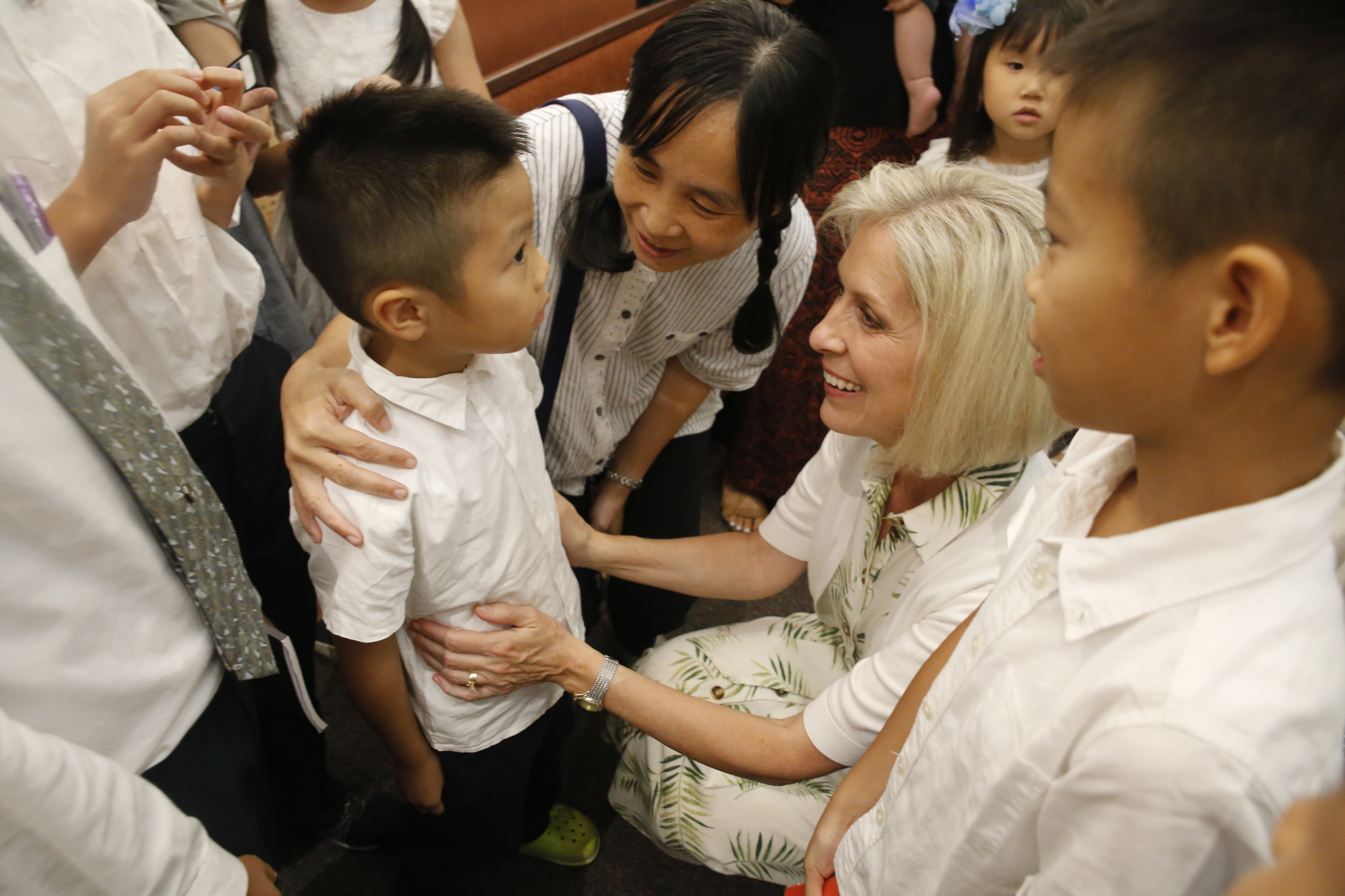 Sister Joy D. Jones, Primary general president, interacts with youth following a devotional in Taipei, Taiwan, during a visit to the Asia Area from Aug. 17 to 14, 2019.
