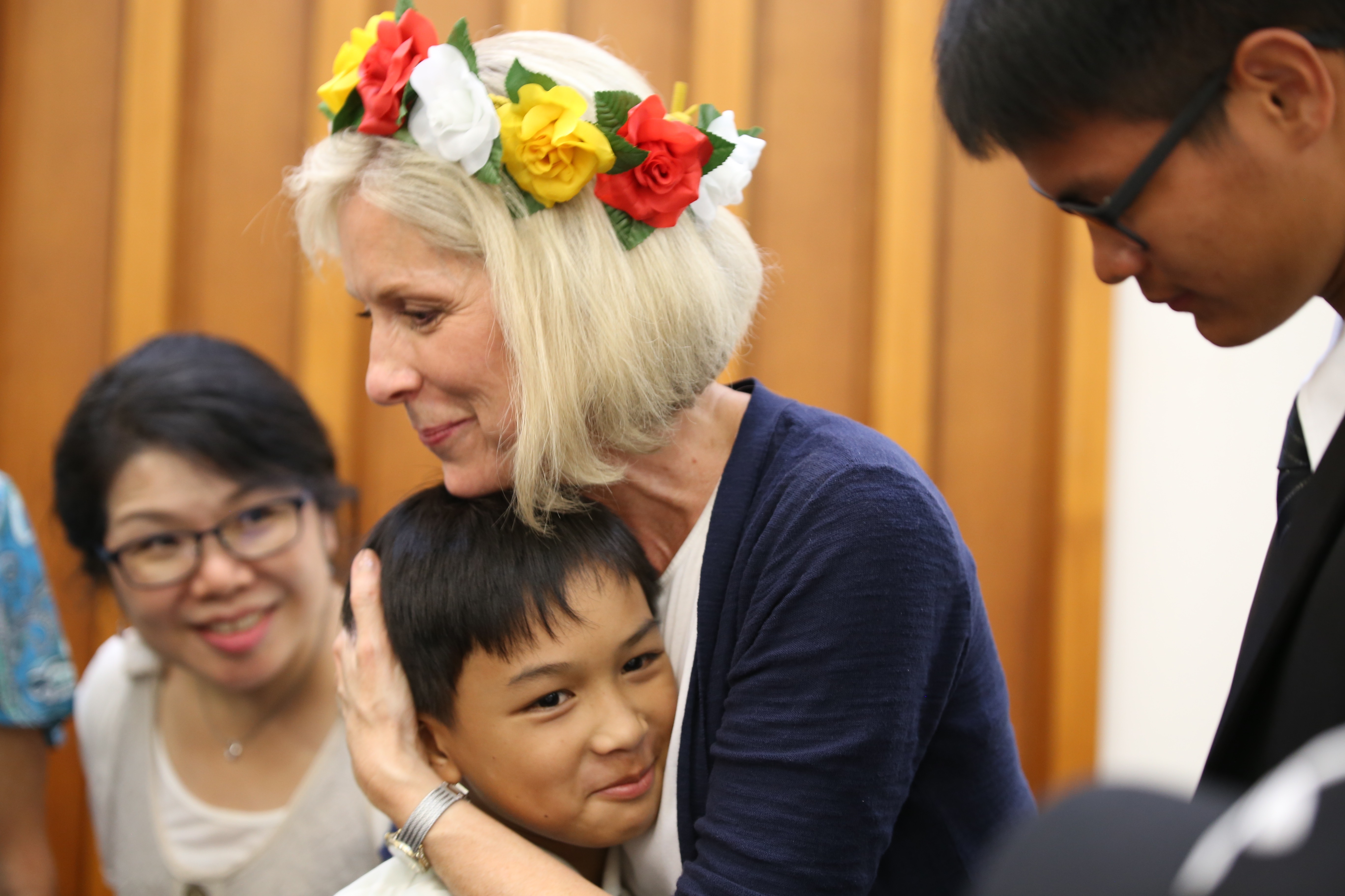 Sister Joy D. Jones, Primary general president, hugs a youth member following a devotional in Taitung, Taiwan, where she danced with members during a visit to the Asia Area from Aug. 17 to 14, 2019.