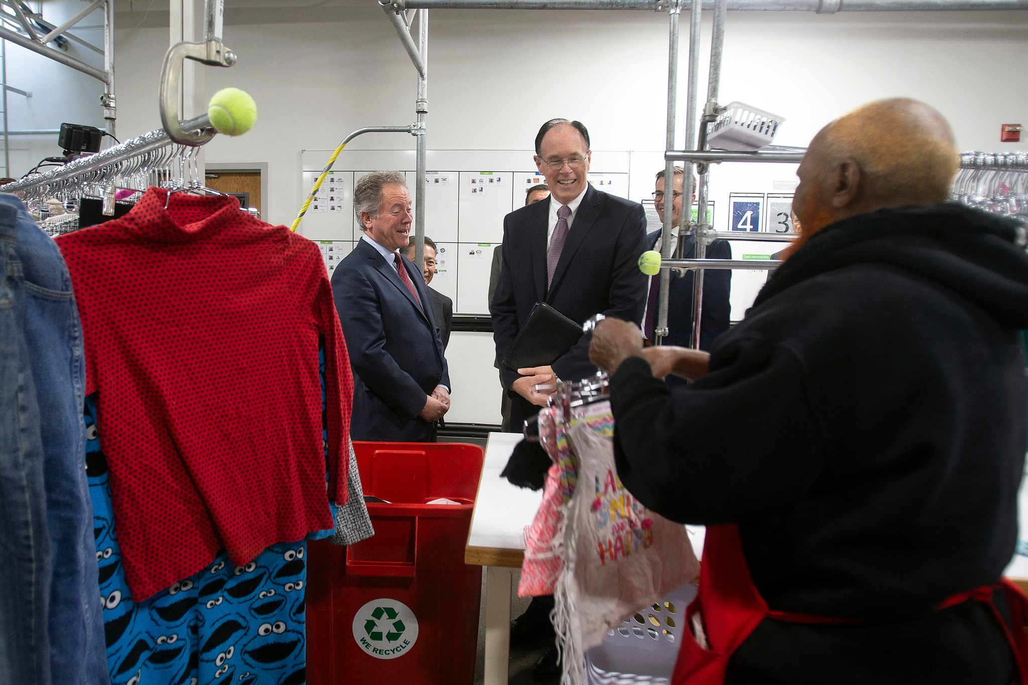 During a tour of Welfare Square, David Beasley, executive director of the United Nations World Food Program, is shown some of the clothes donated at the local Deseret Industries on Monday, Sept. 30, 2019, with Bishop W. Christopher Waddell of the Presiding Bishopric.