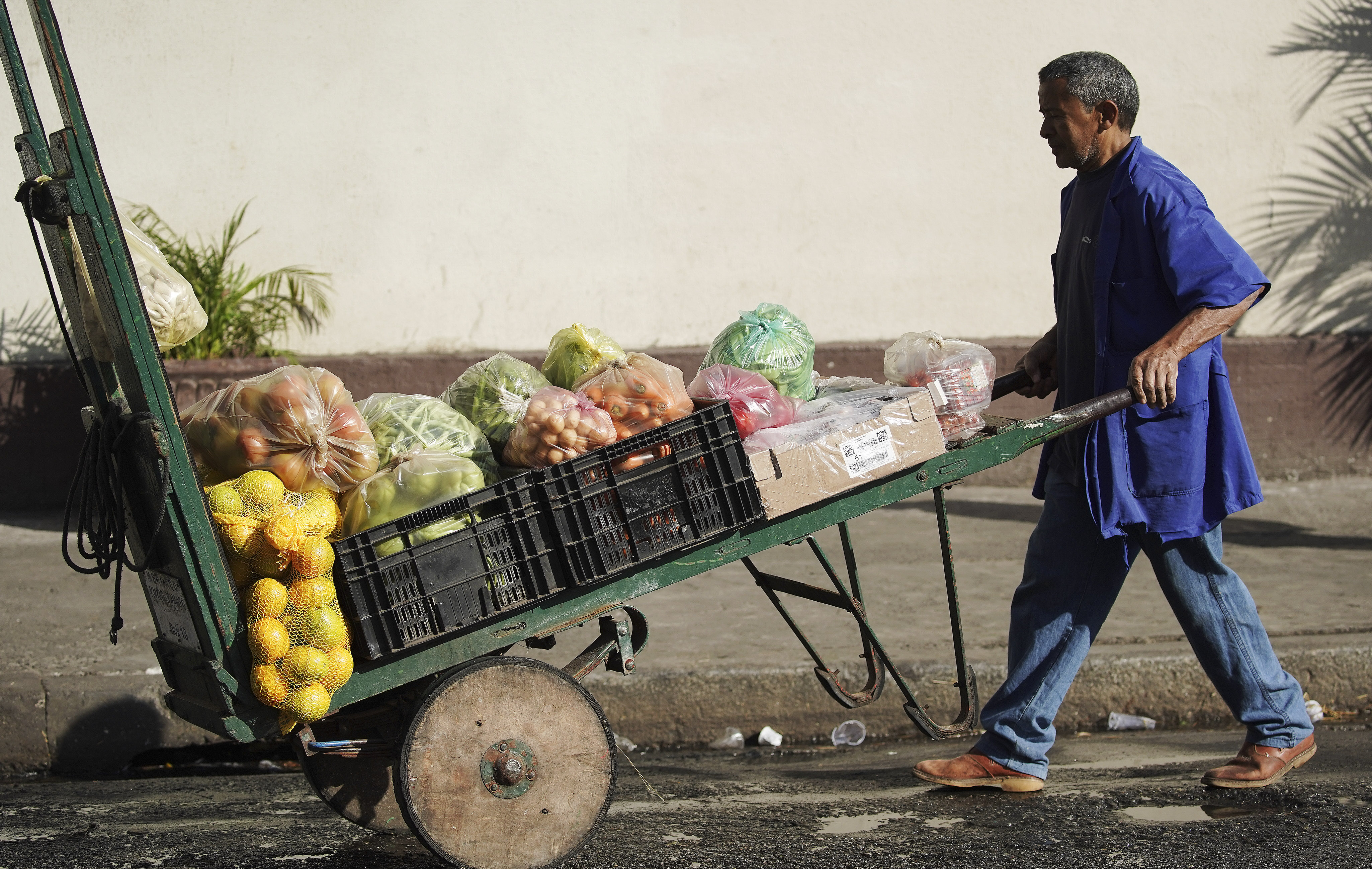 A vendor sells fruit on the street in Sao Paulo, Brazil, on Aug. 31, 2019.