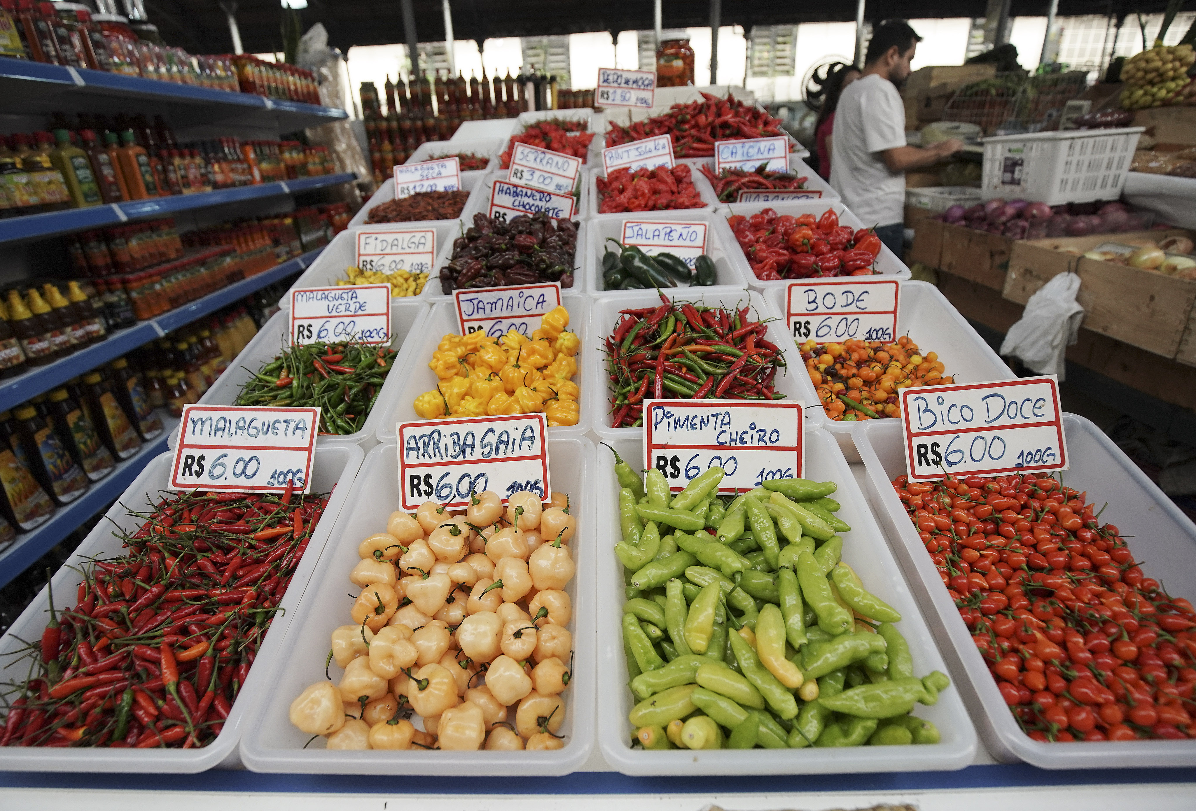 Vegetables are sold in the market in Sao Paulo, Brazil, on Aug. 31, 2019.