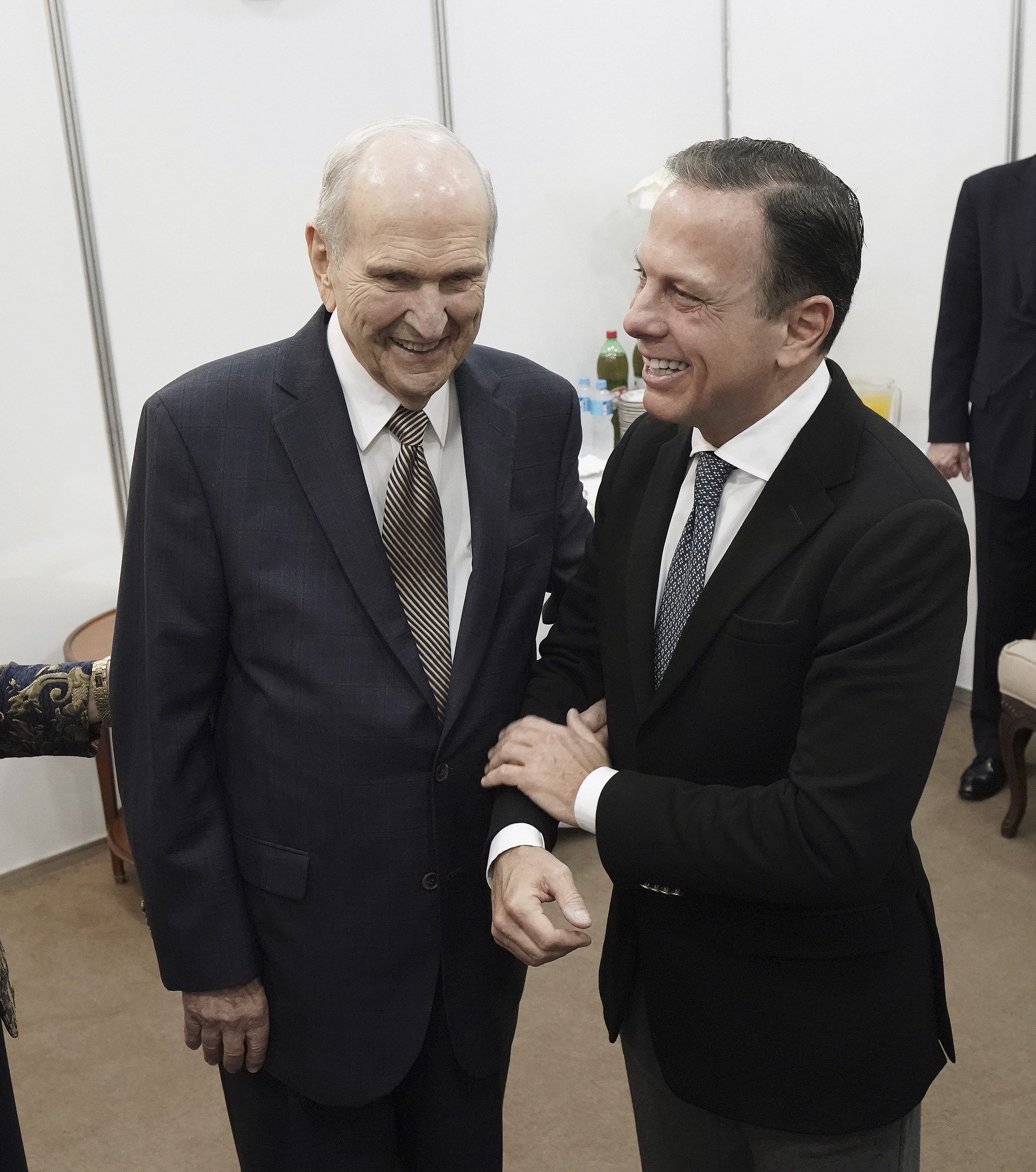 President Russell M. Nelson of The Church of Jesus Christ of Latter-day Saints greets with Sao Paulo Governor João Doria in Sao Paulo, Brazil, on Sunday, Sept. 1, 2019.