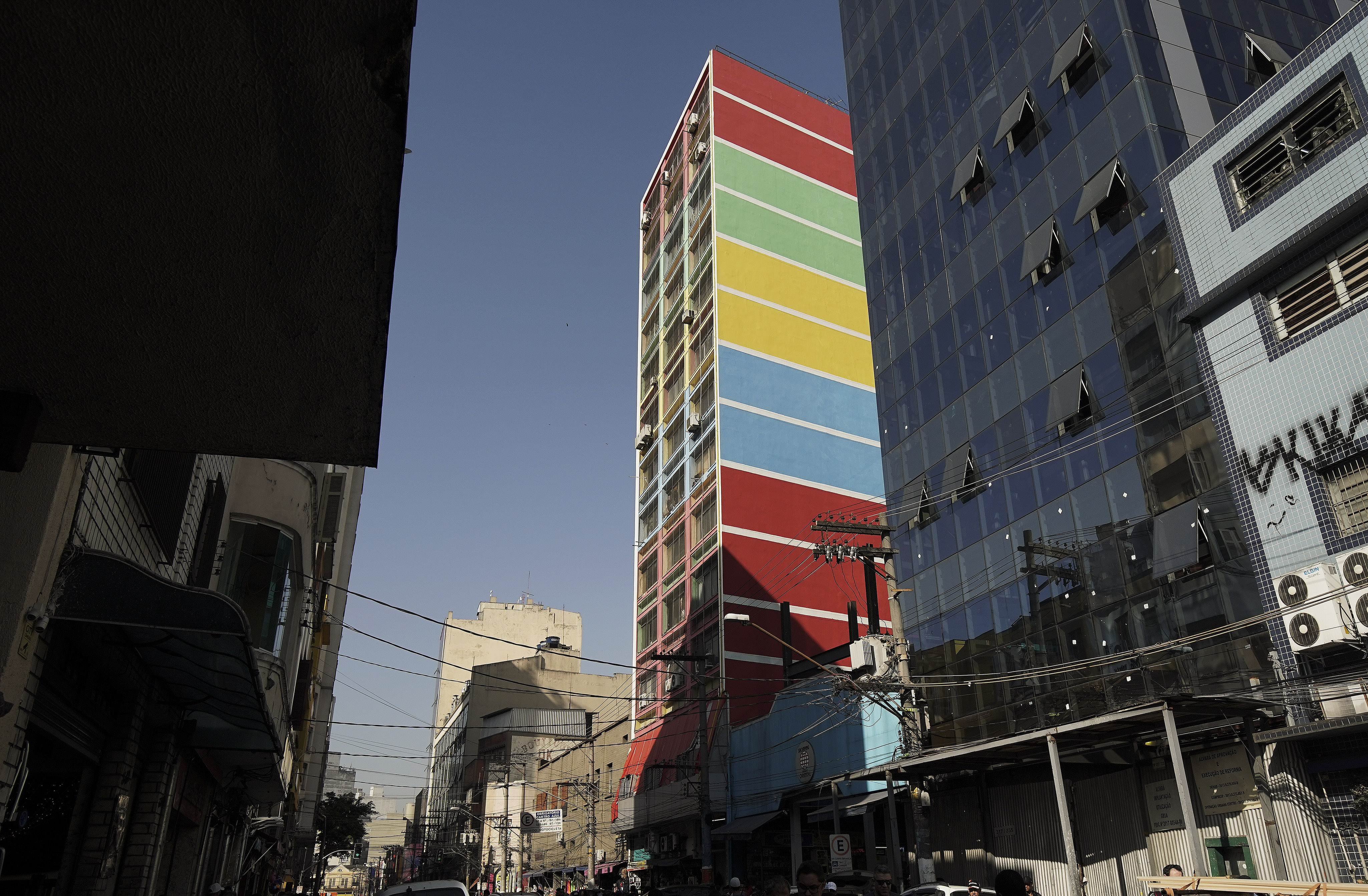 A colorful building in downtown in Sao Paulo, Brazil, on Aug. 31, 2019.