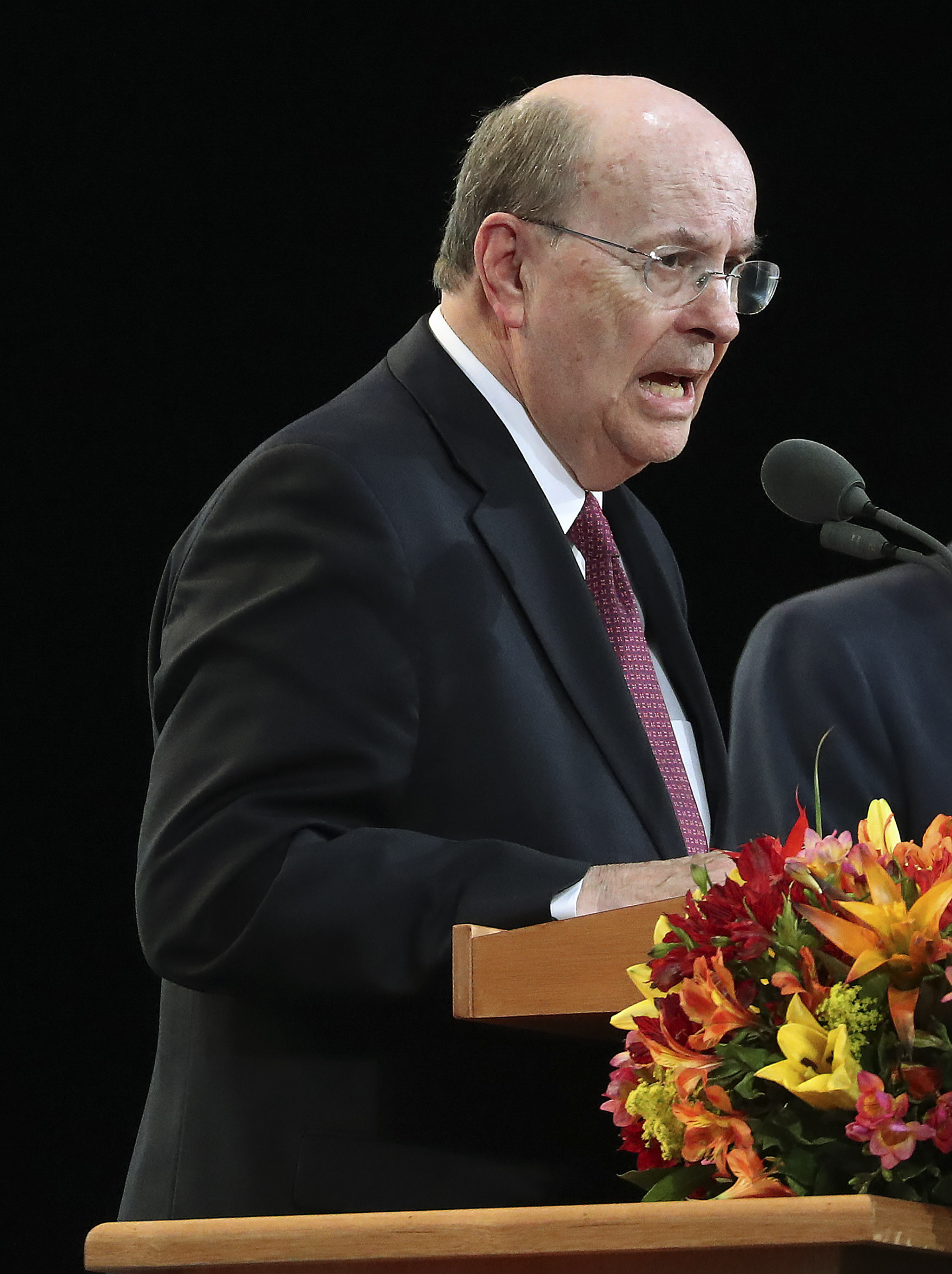 Elder Quentin L. Cook of the Quorum of the Twelve Apostles of The Church of Jesus Christ of Latter-day Saints speaks during a devotional in Sao Paulo, Brazil, on Sunday, Sept. 1, 2019.