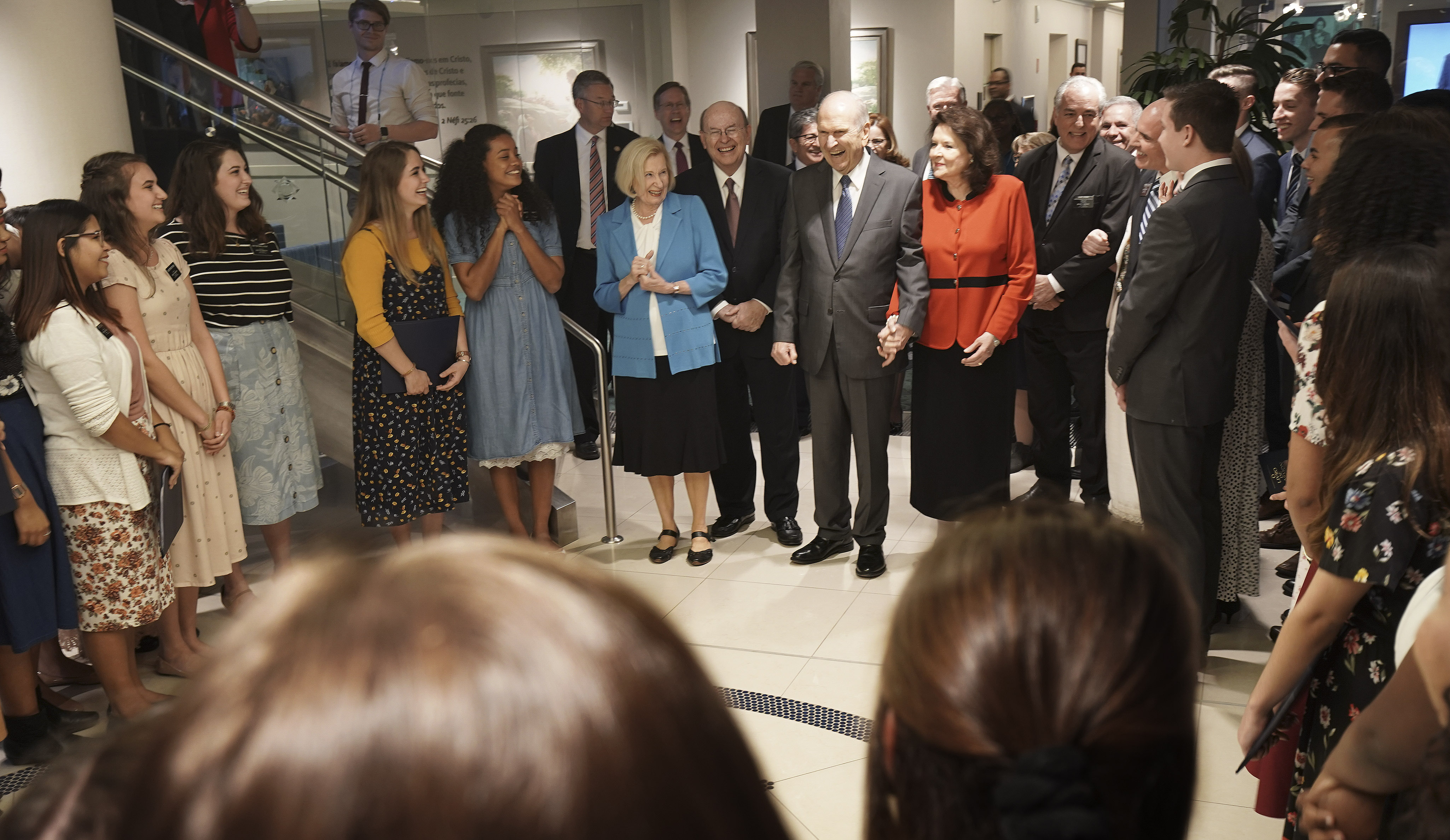 President Russell M. Nelson of The Church of Jesus Christ of Latter-day Saints and his wife, Sister Wendy Nelson, and Elder Quentin L. Cook of the Quorum of the Twelve Apostles and his wife, Sister Mary Cook, are sung to by missionaries in Sao Paulo, Brazil, on Aug. 31, 2019.