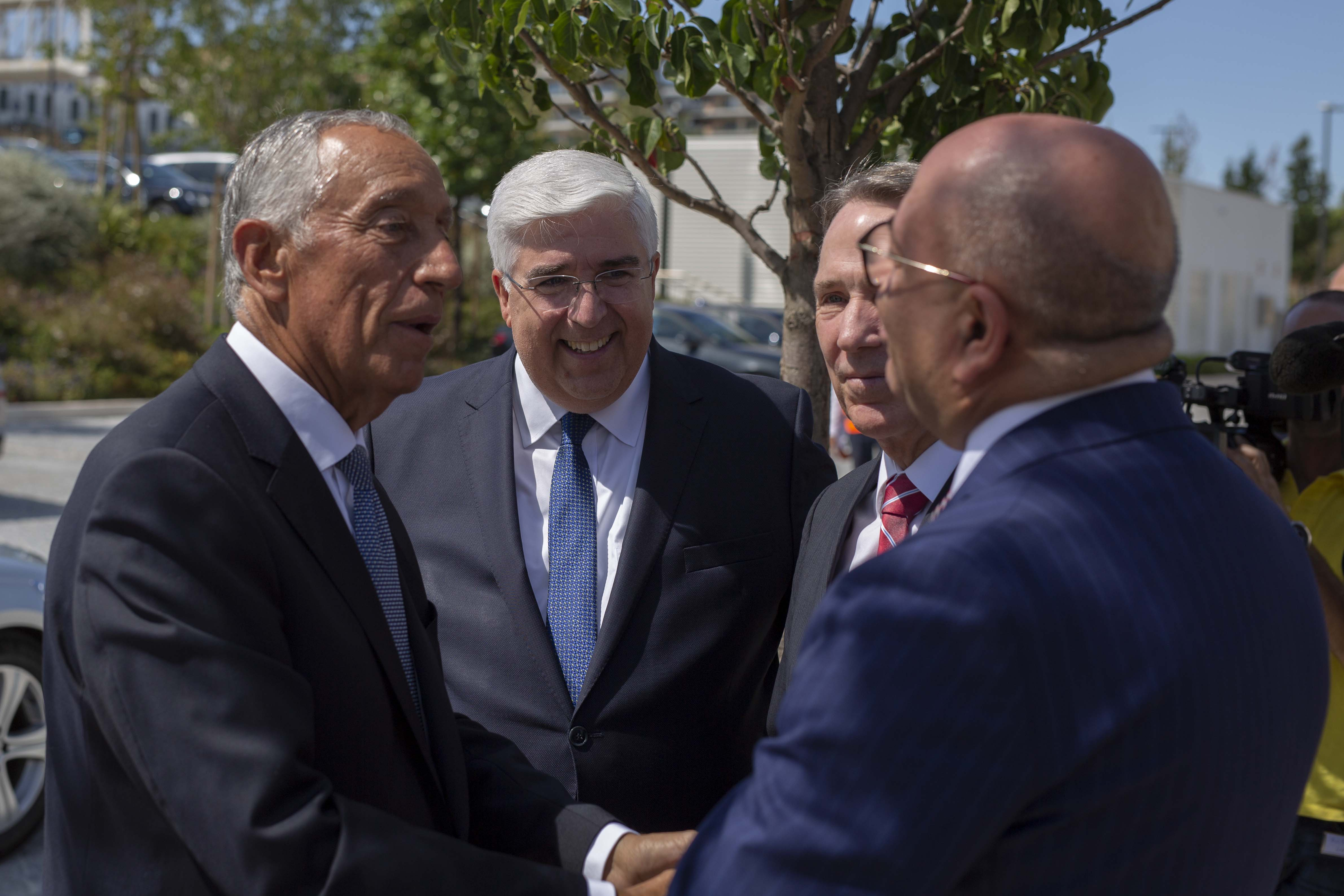 Portugal President Marcelo Rebelo de Sousa is greeted by Elder José A. Teixeira of the Presidency of the Seventy; Elder Gary B. Sabin, president of the Europe Area of the Church; and Elder Joaquim Moreira, Area Seventy; upon his arrival at the Lisbon Portugal Temple on Aug. 29, 2019.