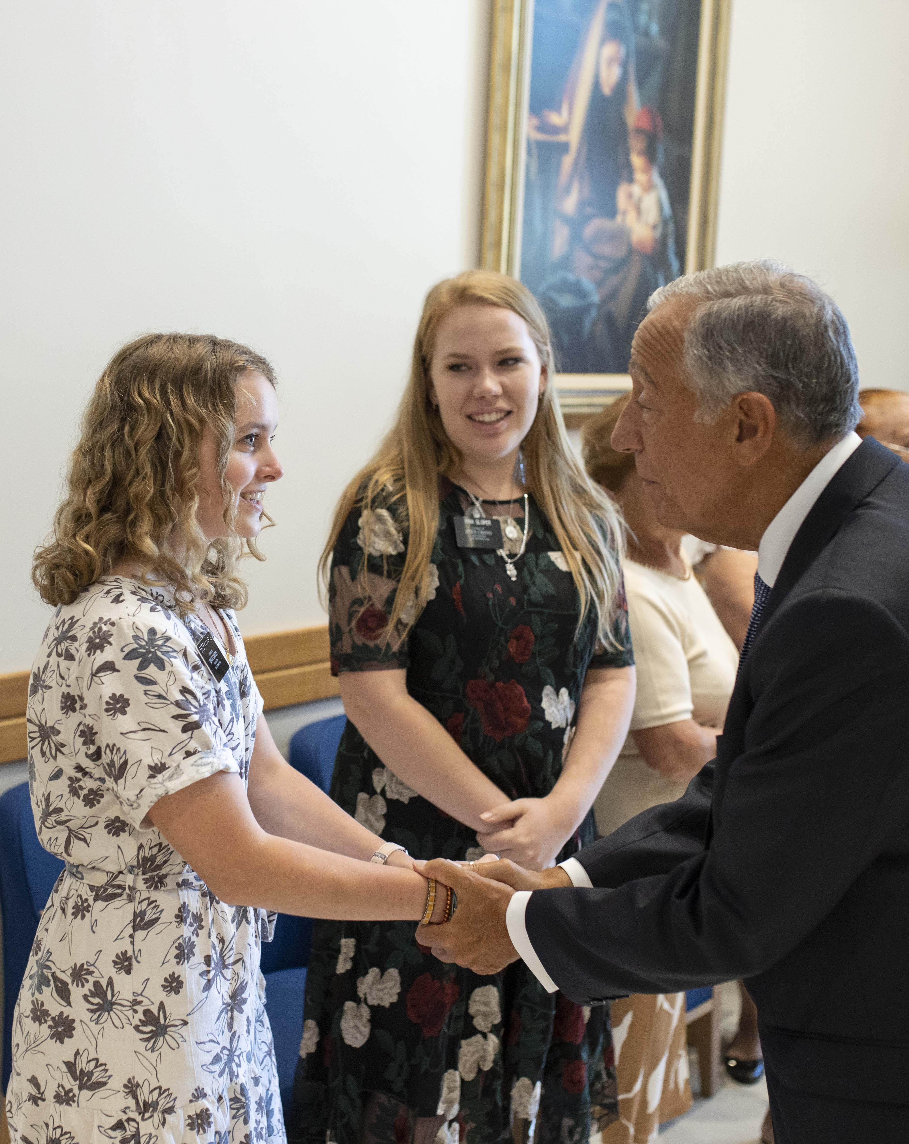 The president of Portugal, Marcelo Rebelo de Sousa, speaks with missionaries of The Church of Jesus Christ of Latter-day Saints who help with the public open house of the Lisbon Portugal Temple on Aug. 29, 2019.
