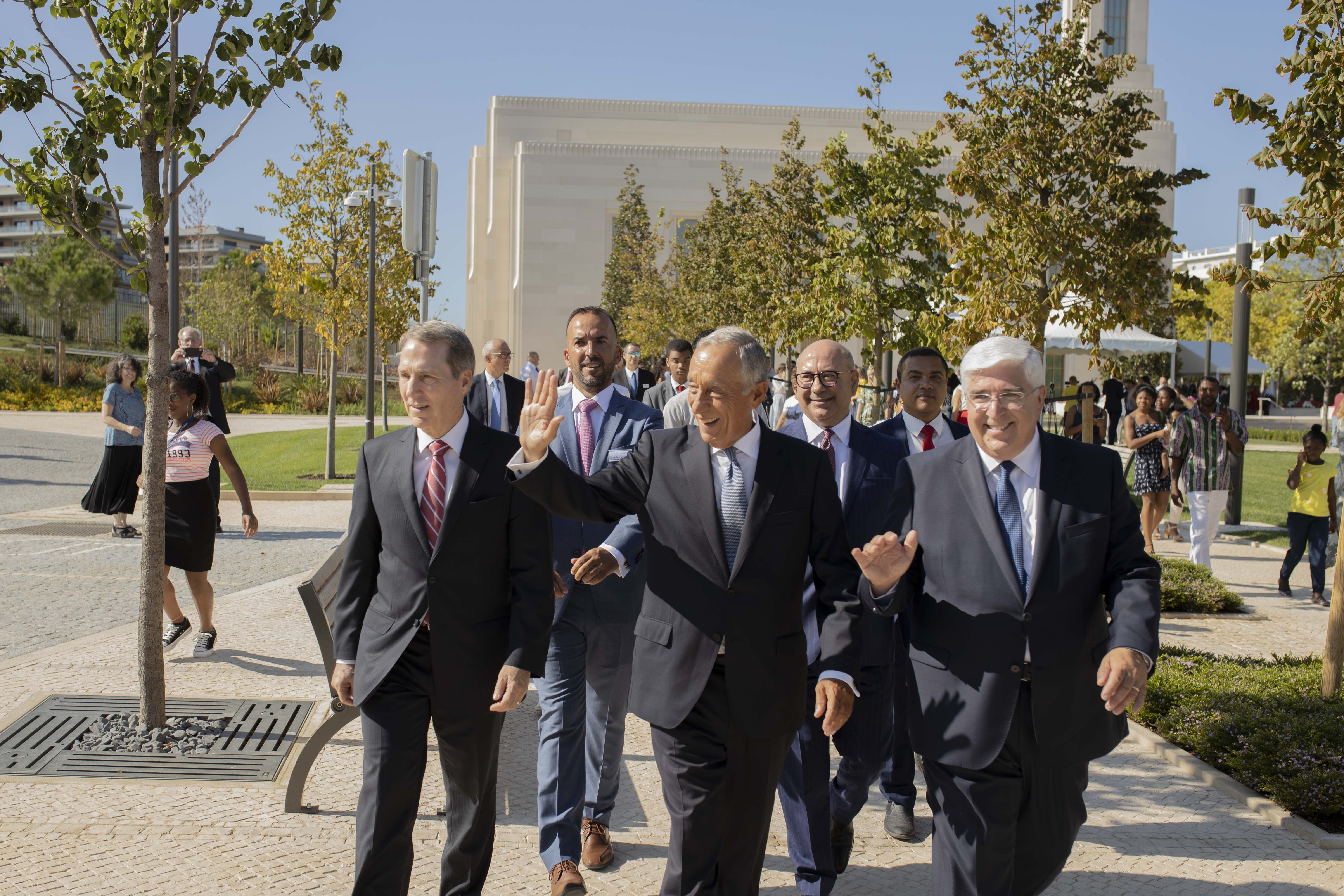 Marcelo Rebelo de Sousa, president of Portugal, tours the Lisbon Portugal Temple grounds on Aug. 29, 2019.