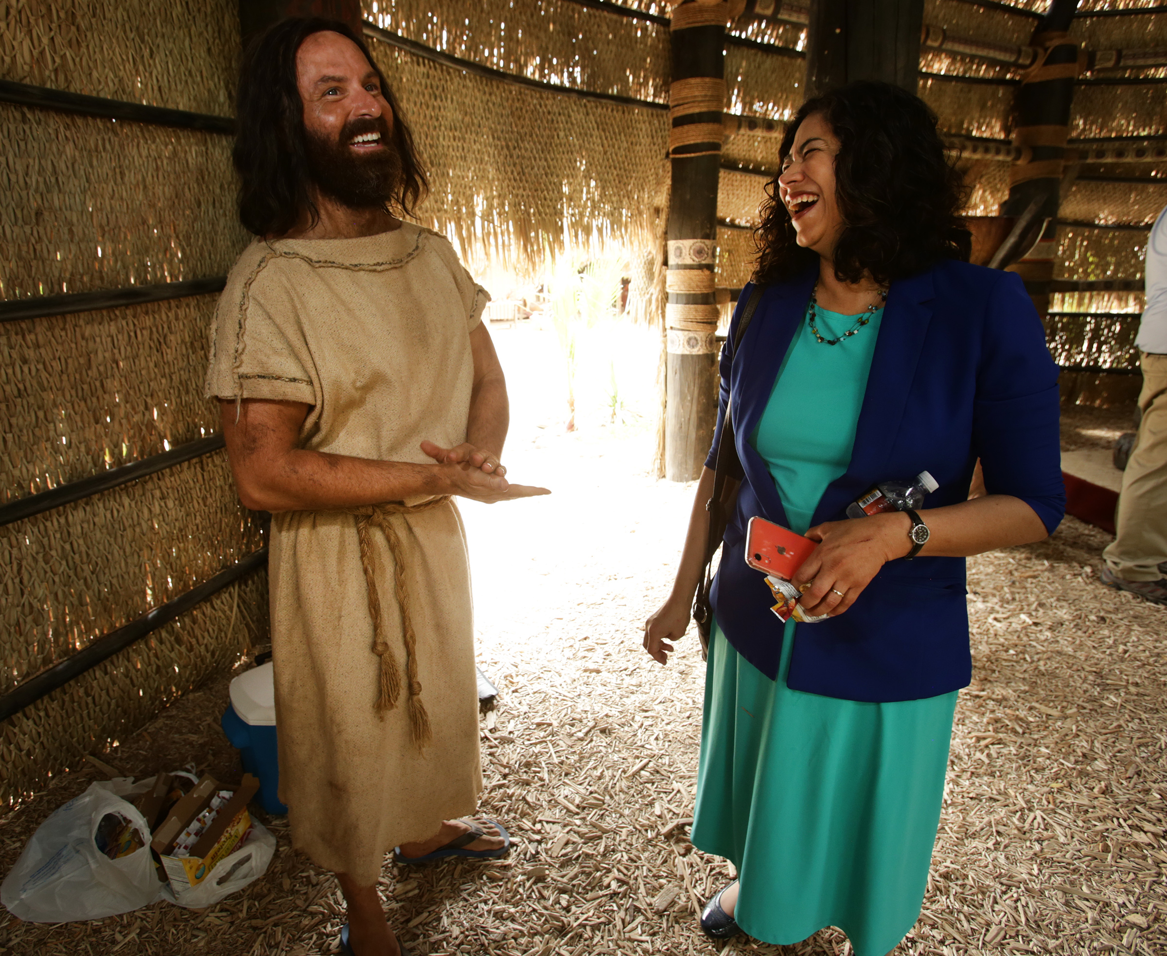 Ryan Wood, who plays the part of Abinadi, shares a laugh with Sister Reyna I. Aburto, second counselor in the Relief Society general presidency and member of the Book of Mormon Video Library steering committee, on a filming set at the Church's Motion Picture Studio on Tuesday, Sept. 3, 2019.