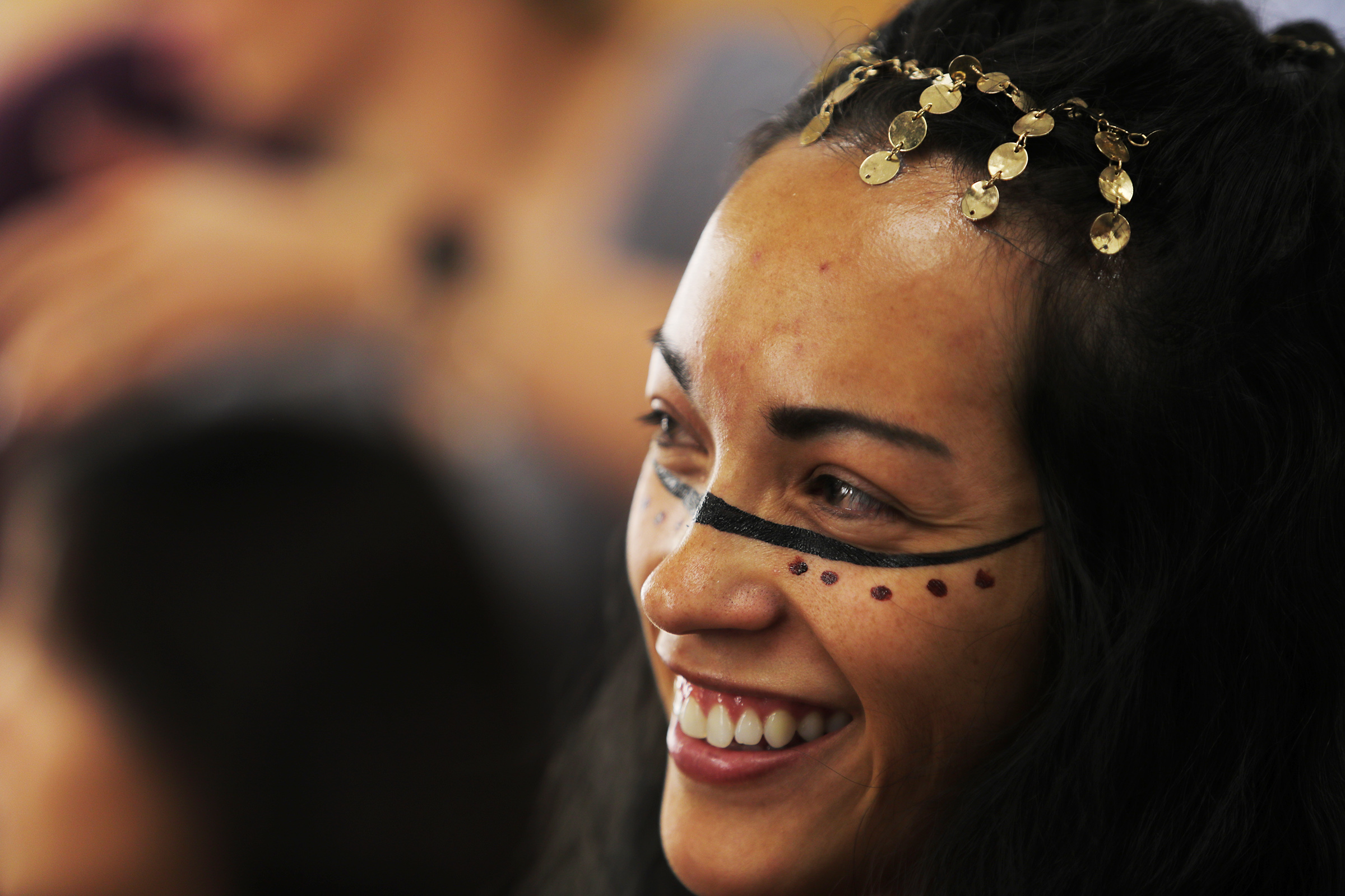 Cecilia Armenta, a dancer in King Noah's court, waits to have some makeup done prior to filming for the Book of Mormon videos series in Provo, Utah, at the Motion Picture Studio on Tuesday, Sept. 3, 2019.