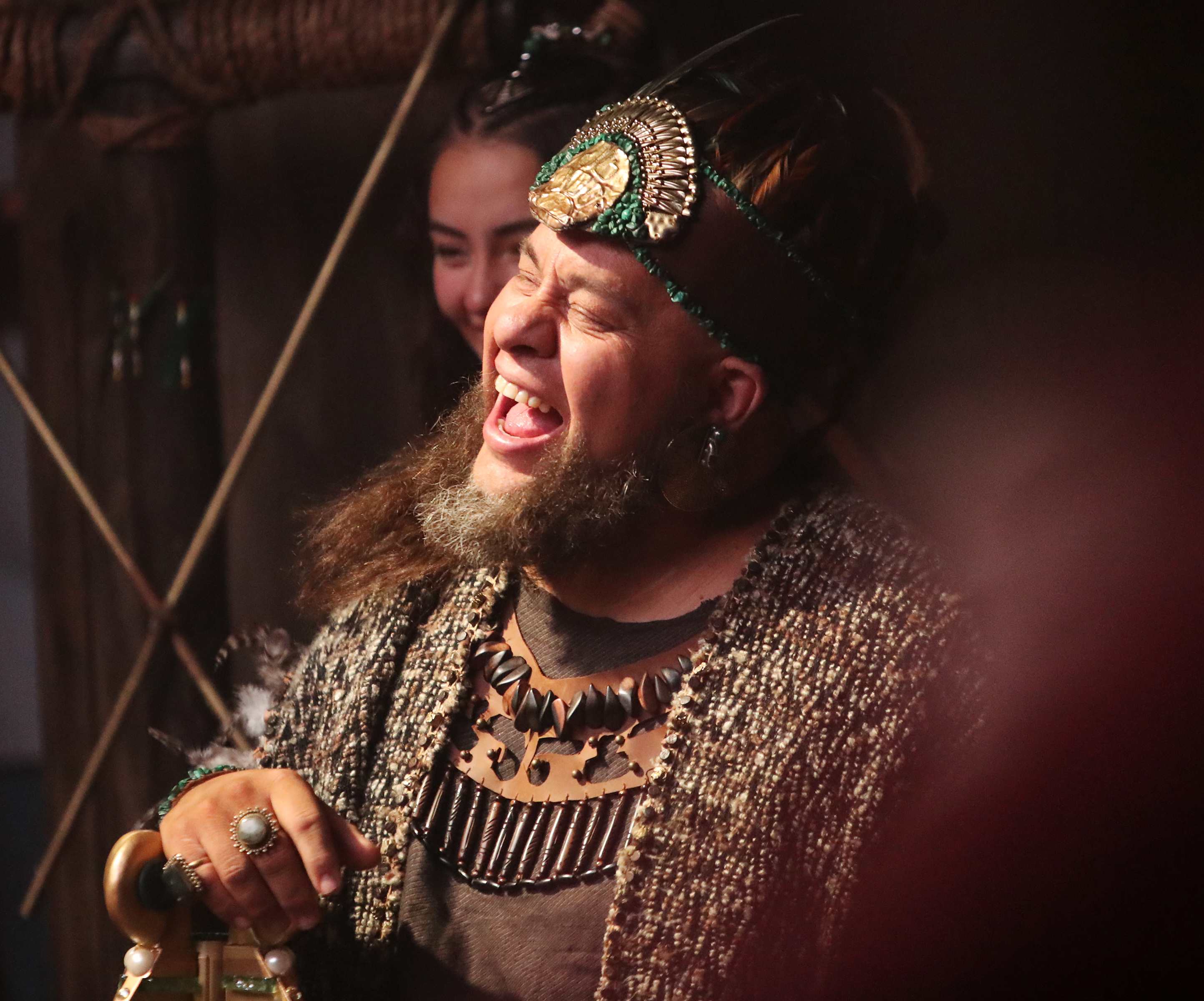 An actor playing King Noah laughs during a filming break in Provo, Utah, at the Motion Picture Studio on Tuesday, Sept. 3, 2019.