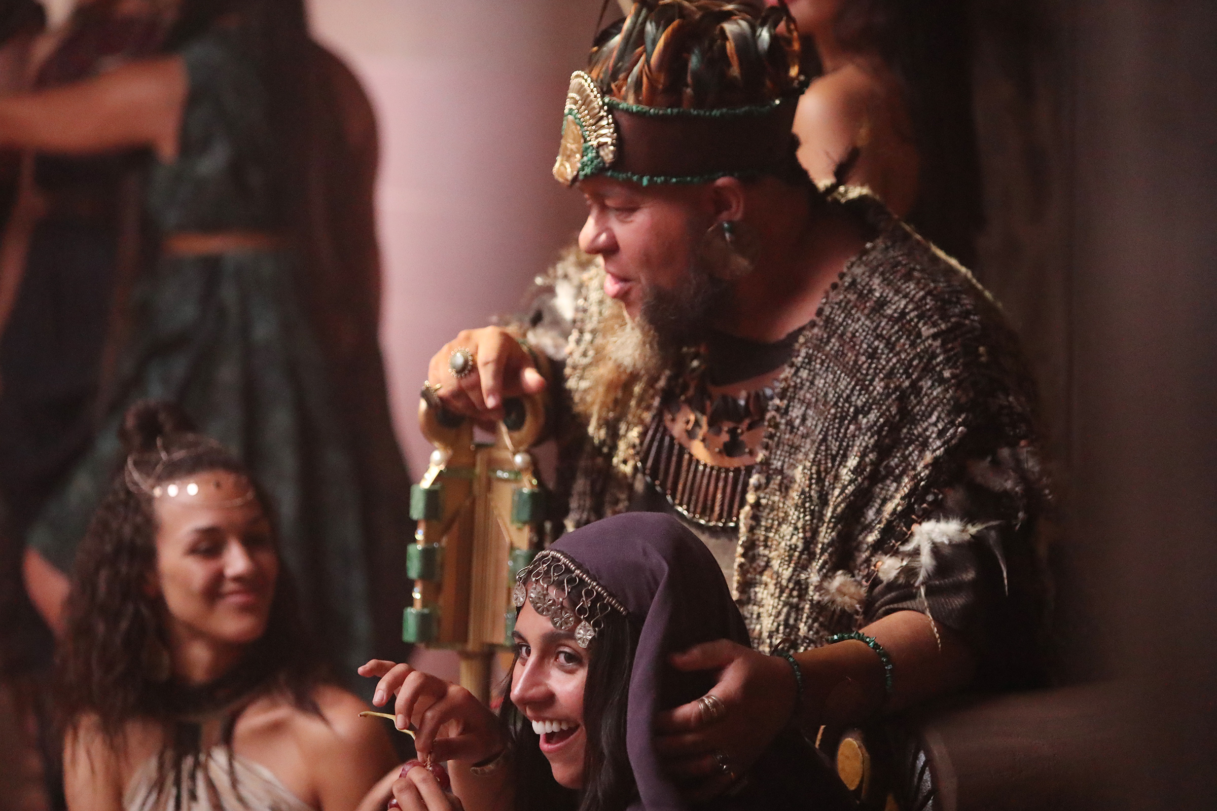 Actors playing King Noah and his concubines talk during filming of the Book of Mormon video series in Provo, Utah, at the Motion Picture Studio on Tuesday, Sept. 3, 2019.