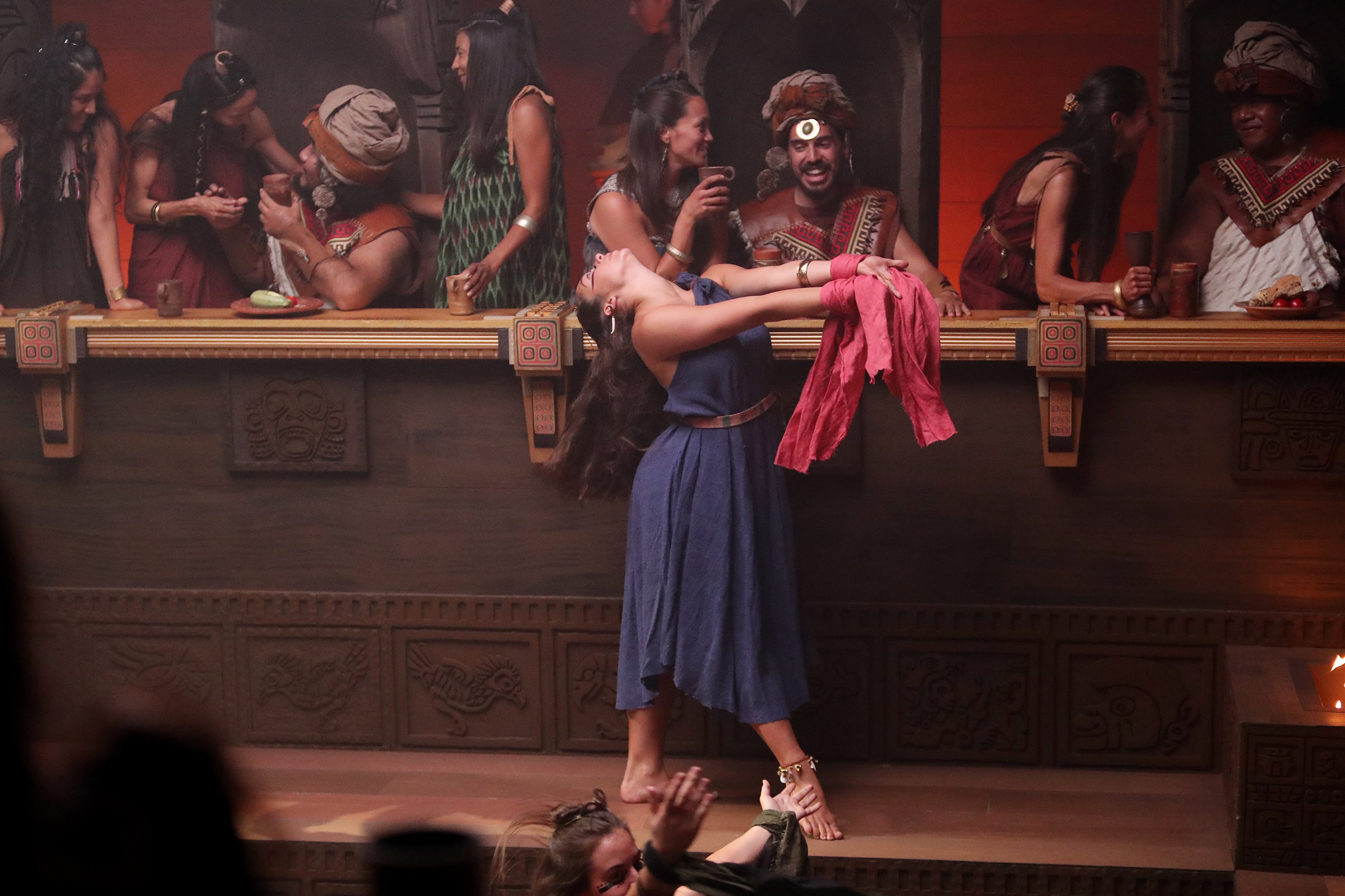 A cast member dances in King Noah's court as work on production of the Book of Mormon video series continues in Provo, Utah, at the Motion Picture Studio on Tuesday, Sept. 3, 2019.