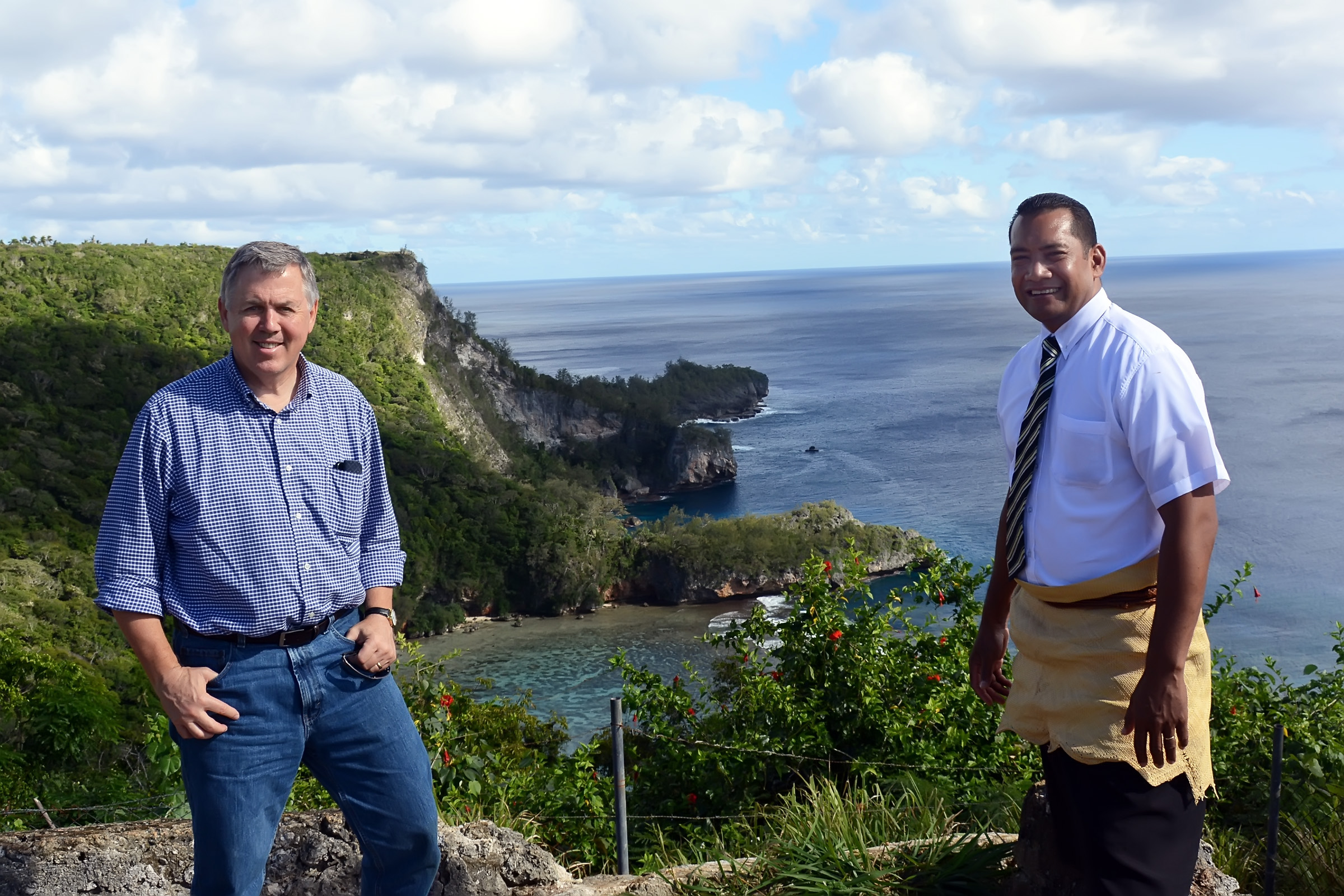 Kenneth Mays, left, in Tonga with Kapilon (Loni) Savou, a Latter-day Saint stake president from the area.