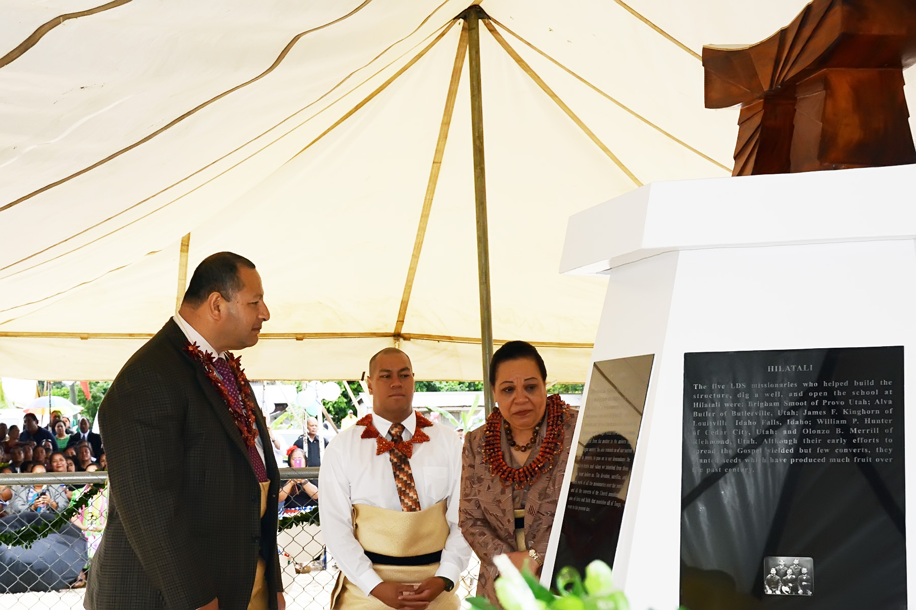 The King of Tonga, son and wife at the dedication of a Latter-day Saint monument.
