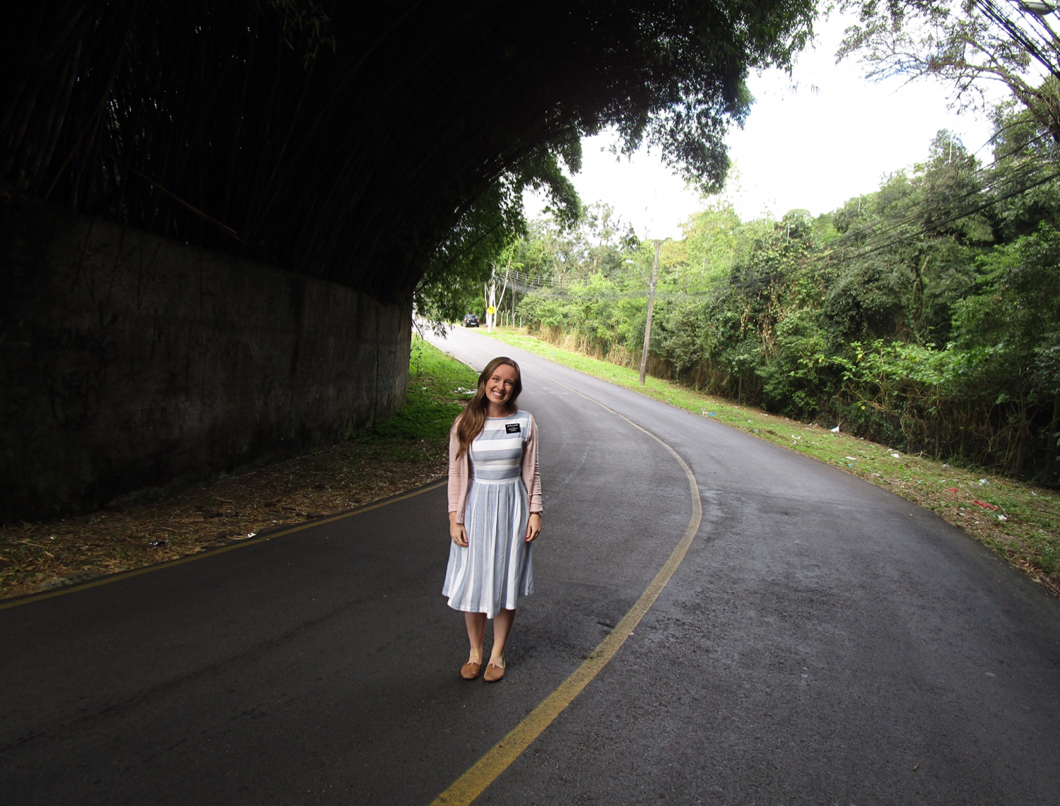 Monique McDown walking on her mission in Curitiba, Brazil.