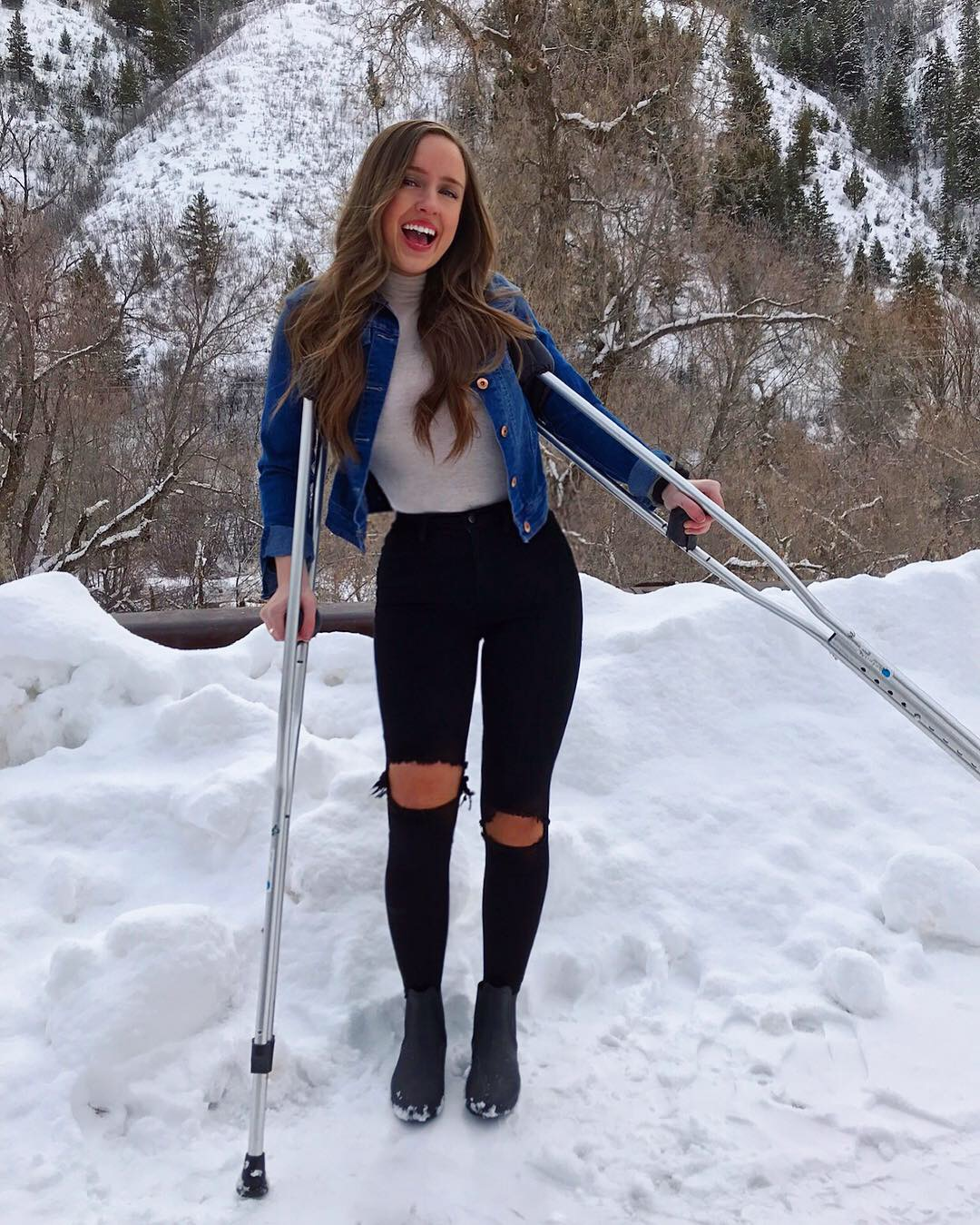 Monique McDown on crutches in Provo, Utah, after her right leg was paralyzed in an accident while she was serving a mission in Brazil.