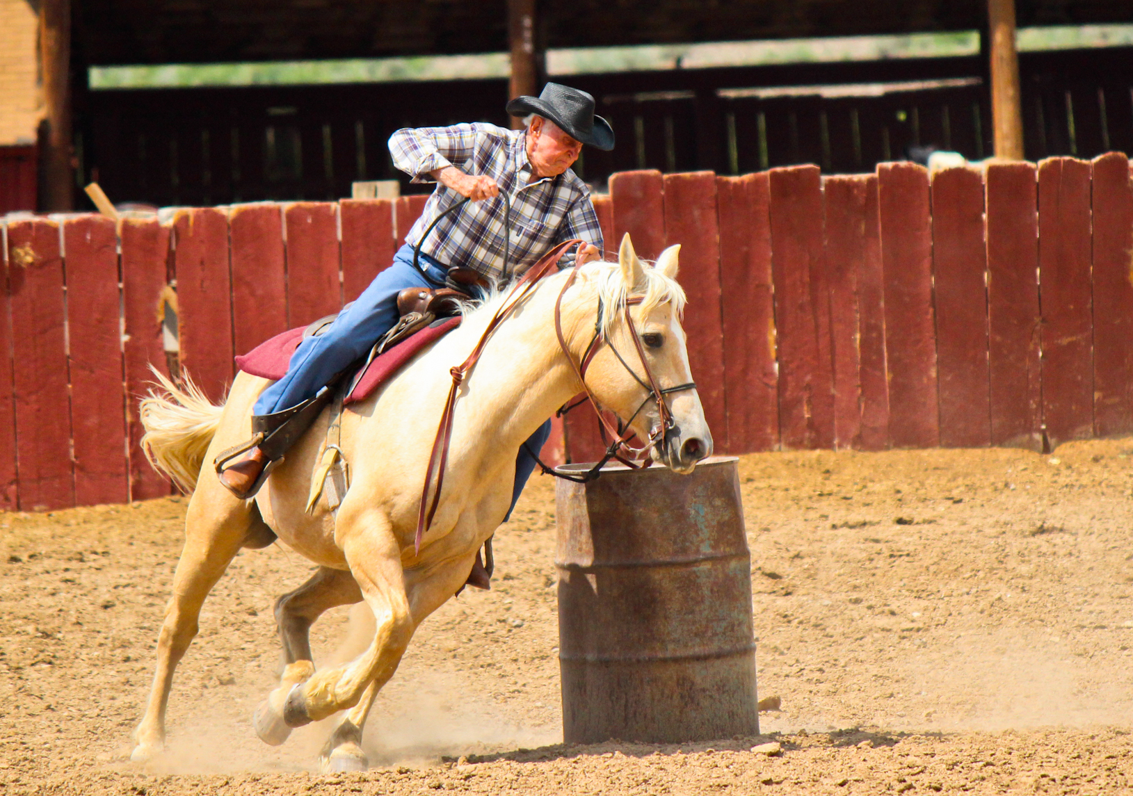 Carl Freeman still enjoyed barrel racing at age 98. Today, the 104-year-old serves as a temple worker in the St. George Utah Temple.