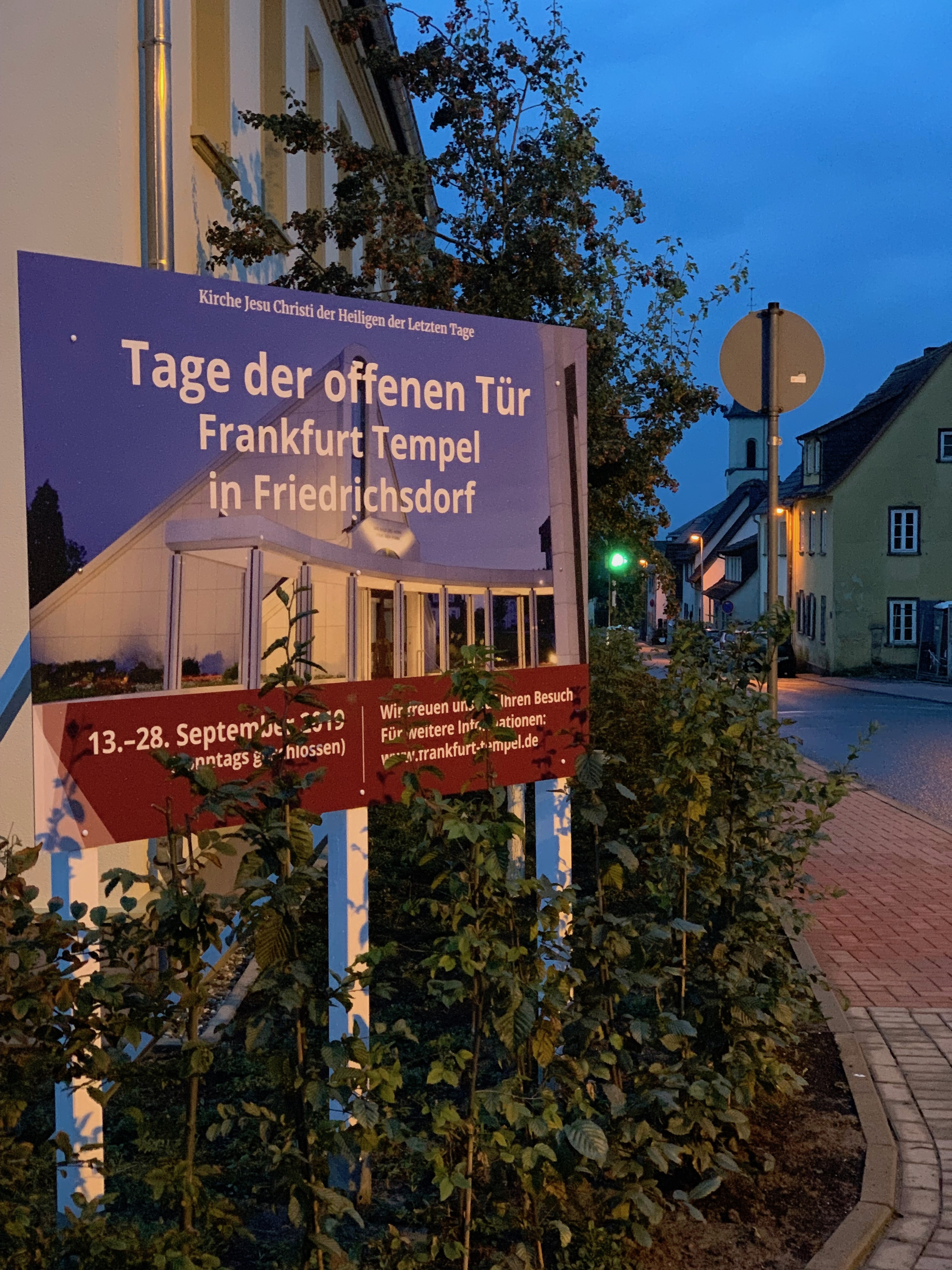 The sign in front of the Frankfurt Germany Temple prior to the public open house which runs Sept. 13-28, 2019.