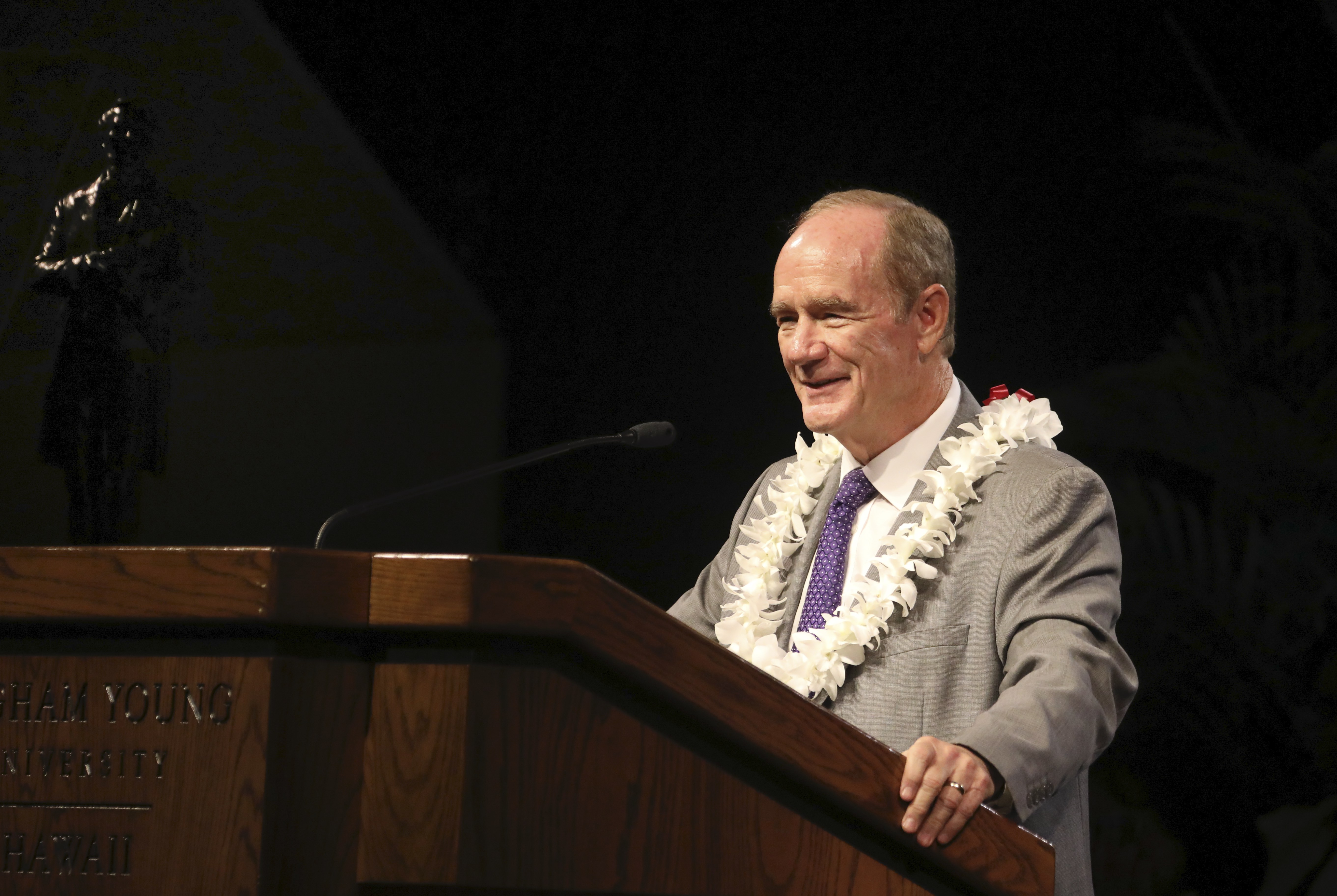 President John S. Tanner speaks to students at the BYU - Hawaii Devotional on September 10, 2019.