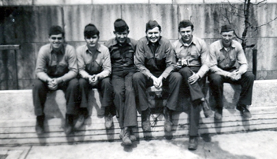 L. Tom Perry, third from right, with fellow Marines in Japan.