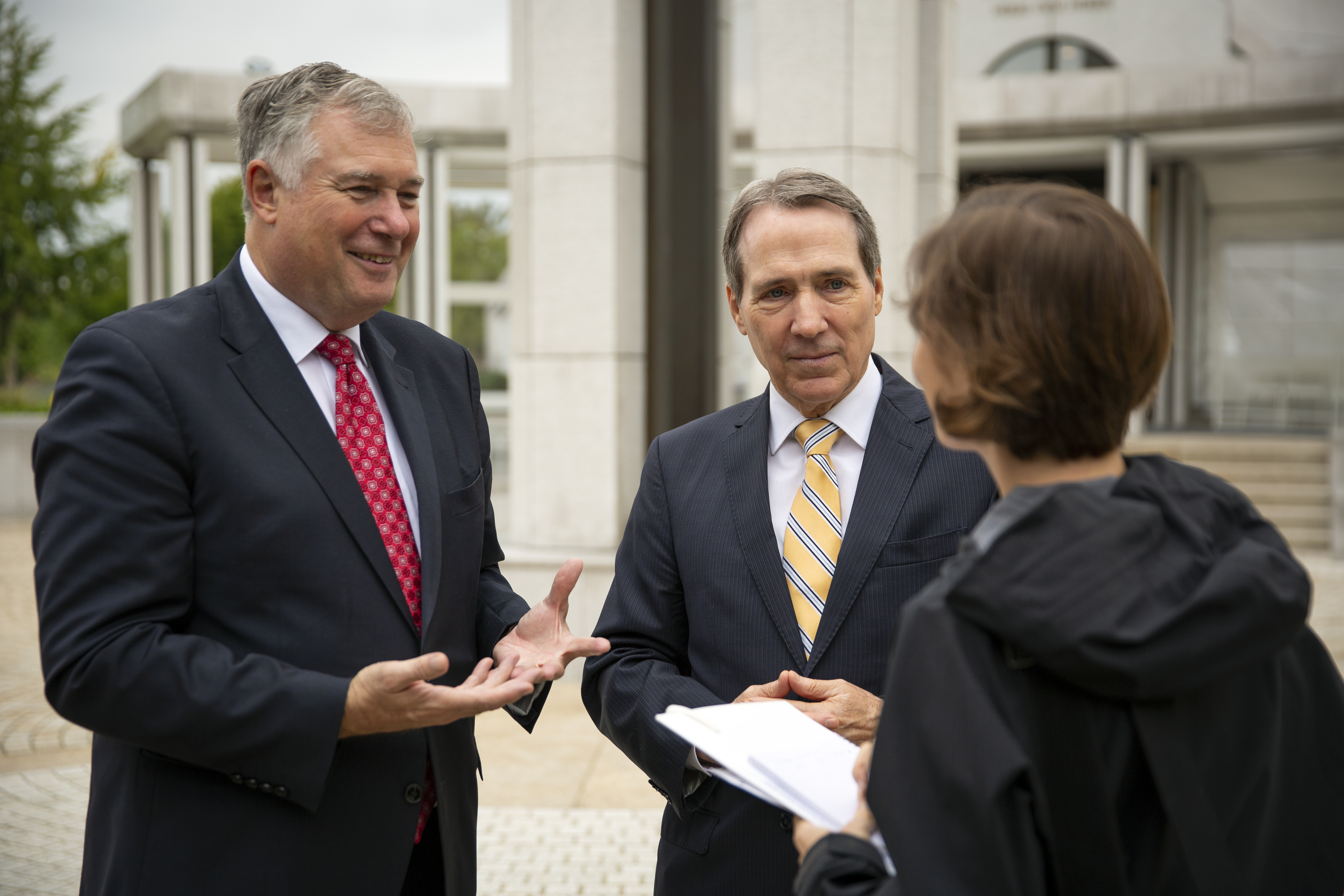 Elder Erich W. Kopischke, left, and Elder Gary B. Sabin, the Europe Area President, speak with a reporter after a press briefing on the Frankfurt Temple grounds in Friedrichsdorf, Germany, on Monday, Sept. 9, 2019.