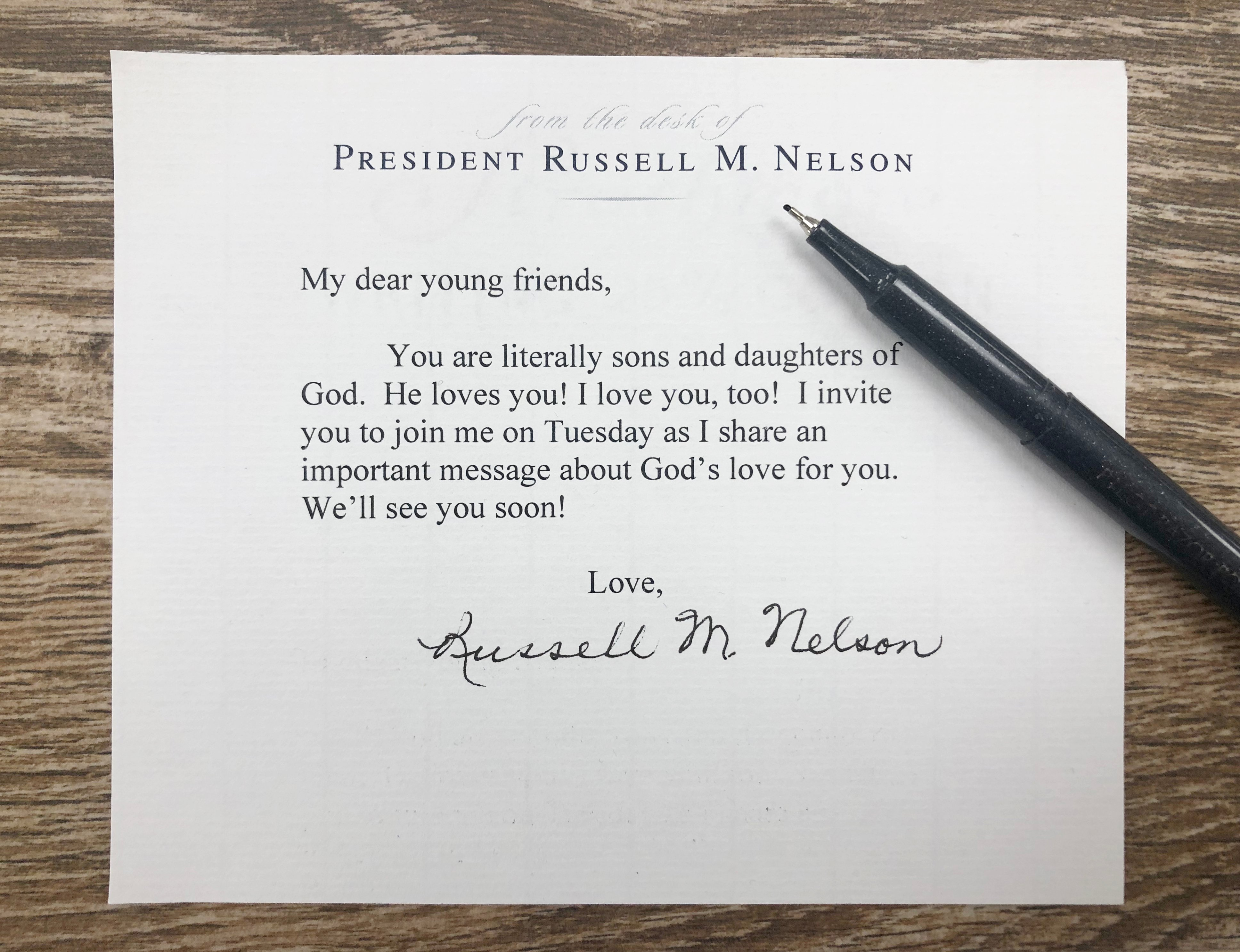 President Russell M. Nelson invites young adults to listen to his message about God's love for them at a BYU devotional on Tuesday, Sept. 17, 2019
