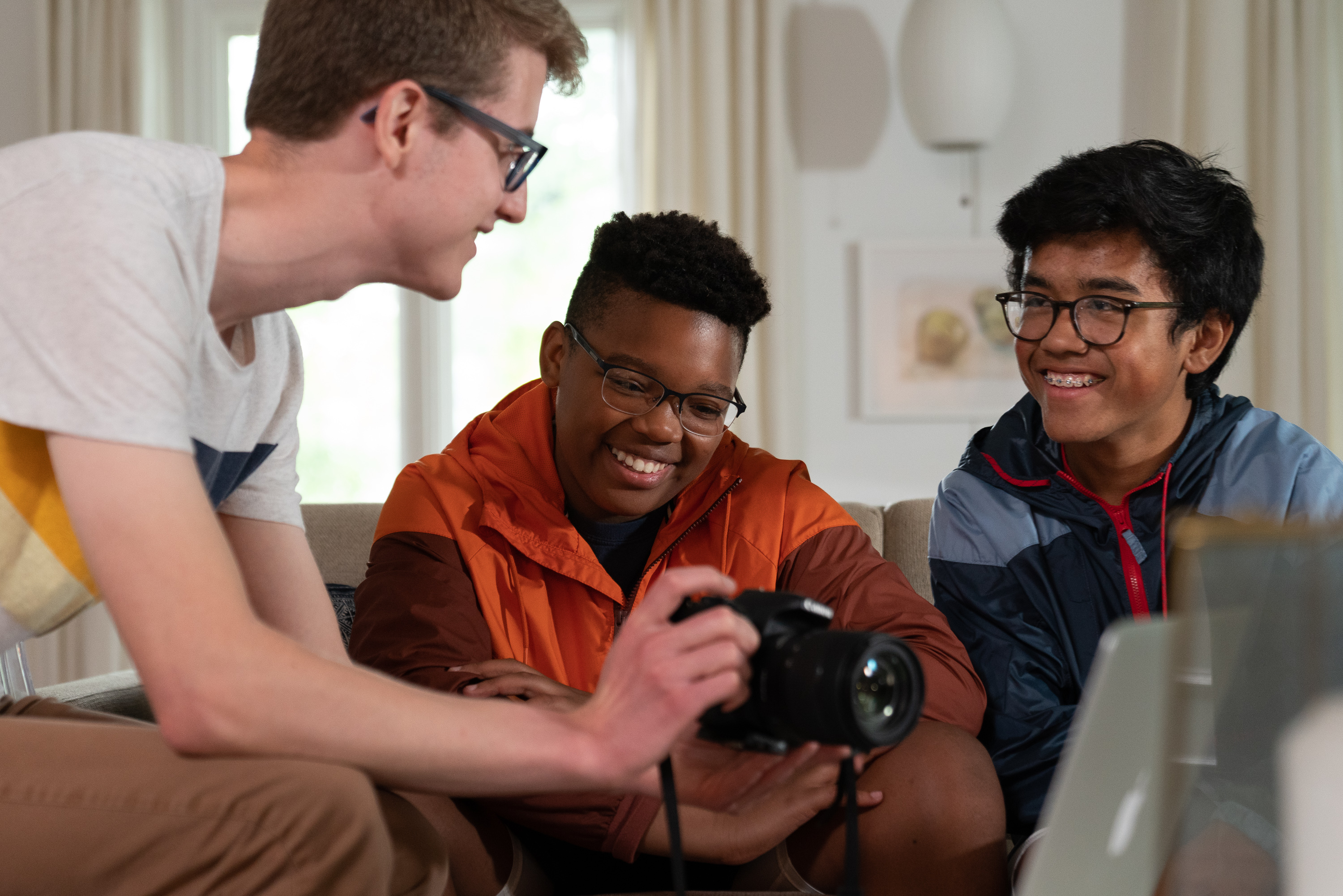 Joshua, left, a priest from a pilot stake in Columbus, Ohio, shares his love for filming with his quorum. Together they made a video for an activity as part of the Children and Youth program.