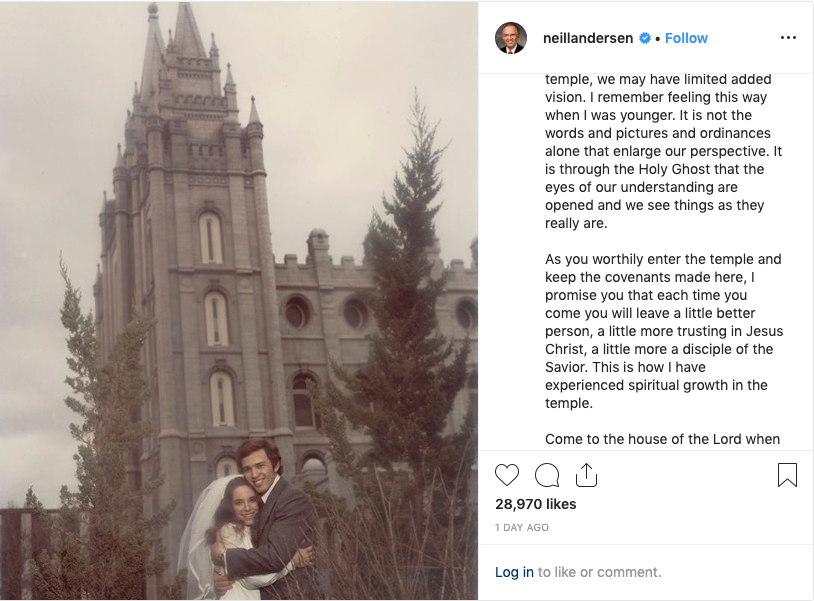 Elder Neil L. Andersen of the Quorum of the Twelve Apostles shares a wedding photo and his testimony of the temple in an Instagram post on Sept. 12, 2019.