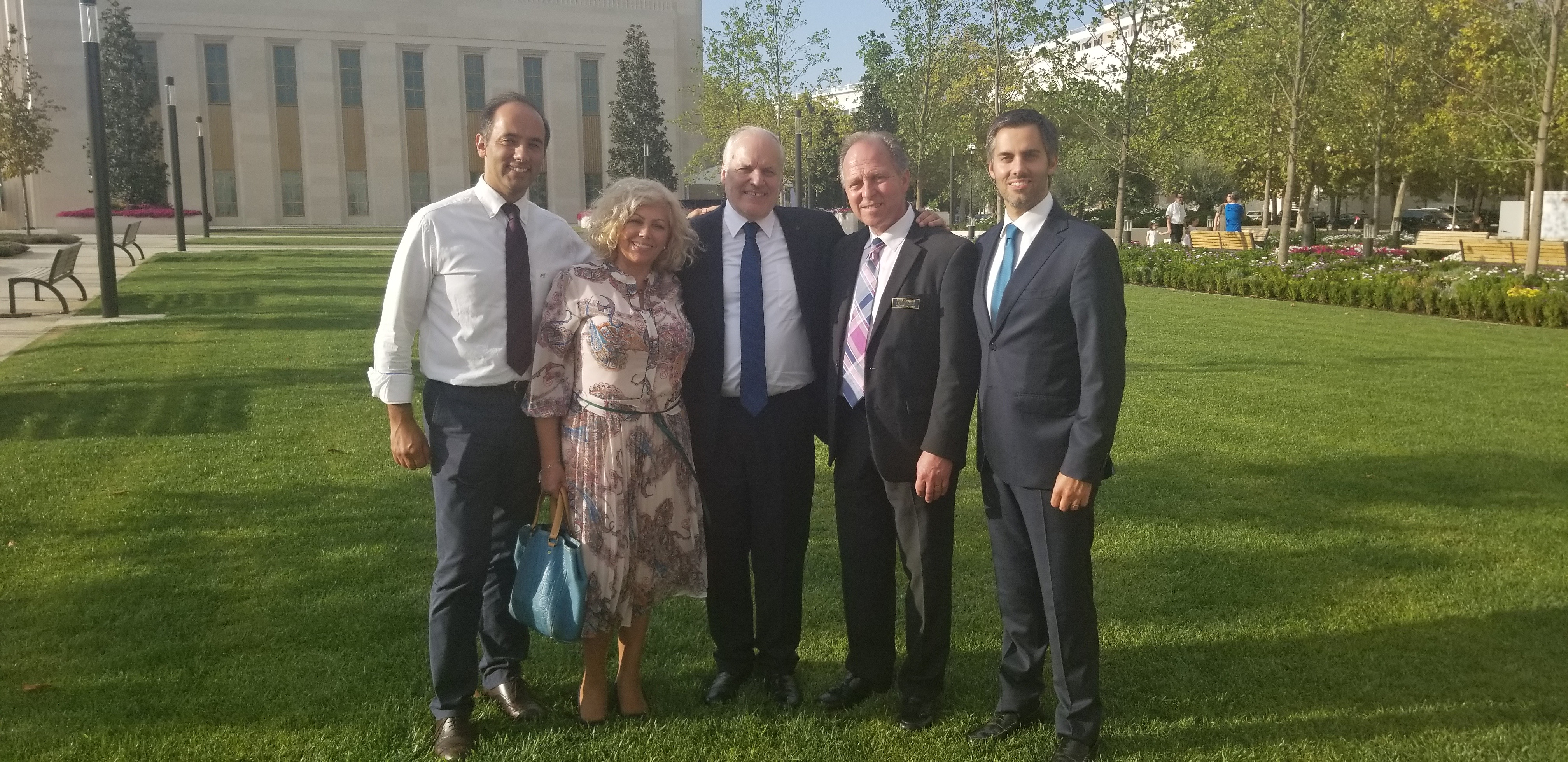 The Silva family from Porto, Portugal, pauses for a photo near the Lisbon Portugal Temple on Saturday, Sept. 14, 2019, with the missionary that helped convert the parents in 1976-77. From left: Simão Pedro Silva, Maria Nazaré Silva, Alcino Silva, Don Chandler and Tiago Silva.