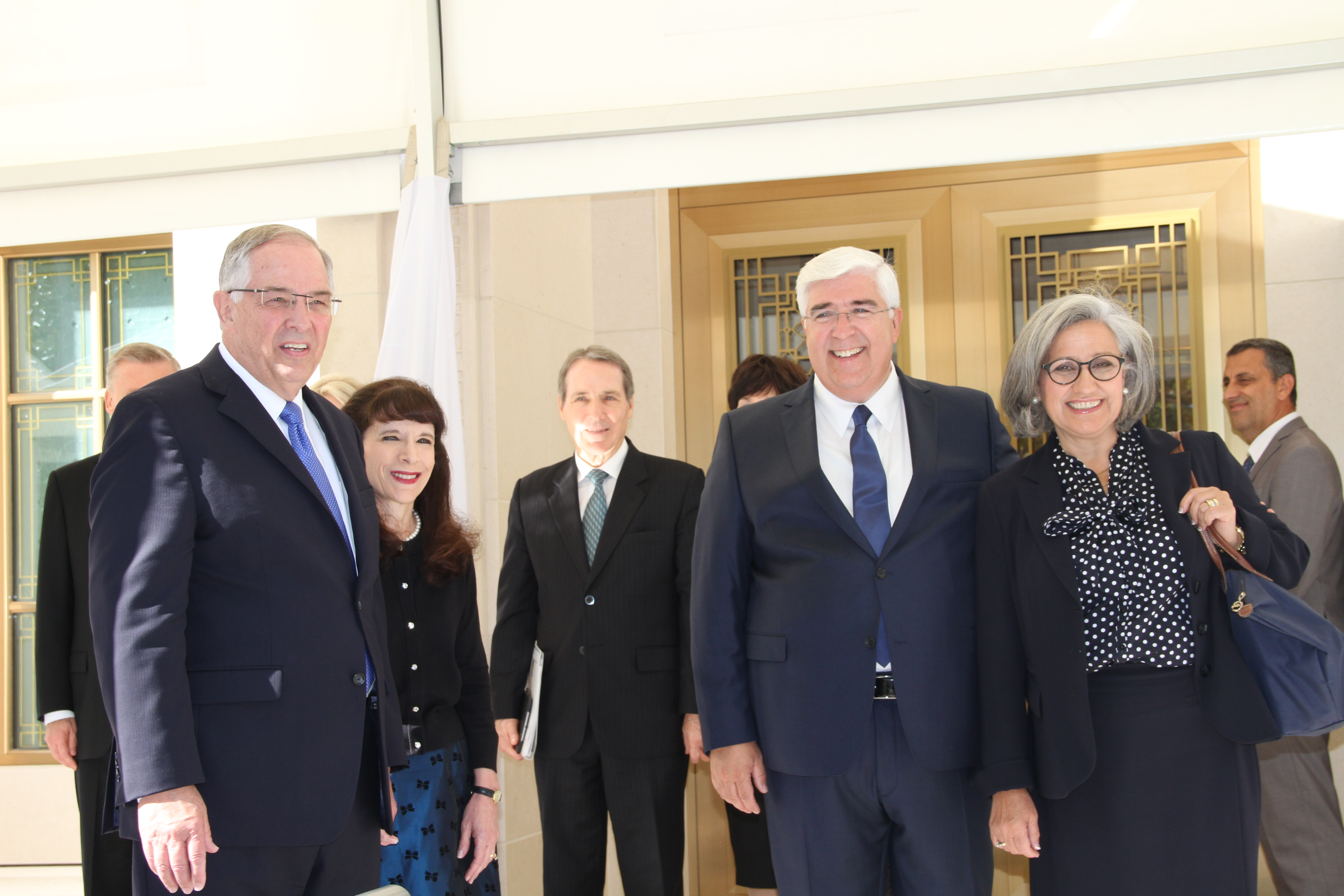 Elder Neil L. Andersen of the Quorum of the Twelve Apostles and his wife, Sister Kathy Andersen, are joined by Elder José A. Teixeira of the Presidency of the Seventy and his wife, Sister Filomena Teixeira following their walk-through of the Lisbon Portugal Temple on Saturday, Sept. 14, 2019.